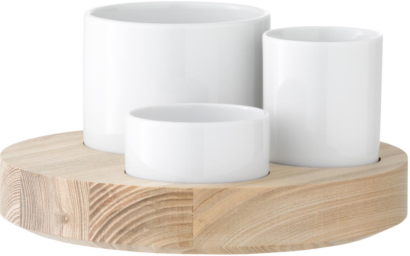 Oliven-Servier-Set Lotta, 4-tlg., Schälchen: Porzellan, Unterteil: Eschenholz, Weiss, Braun, Set mit verschiedenen Grössen