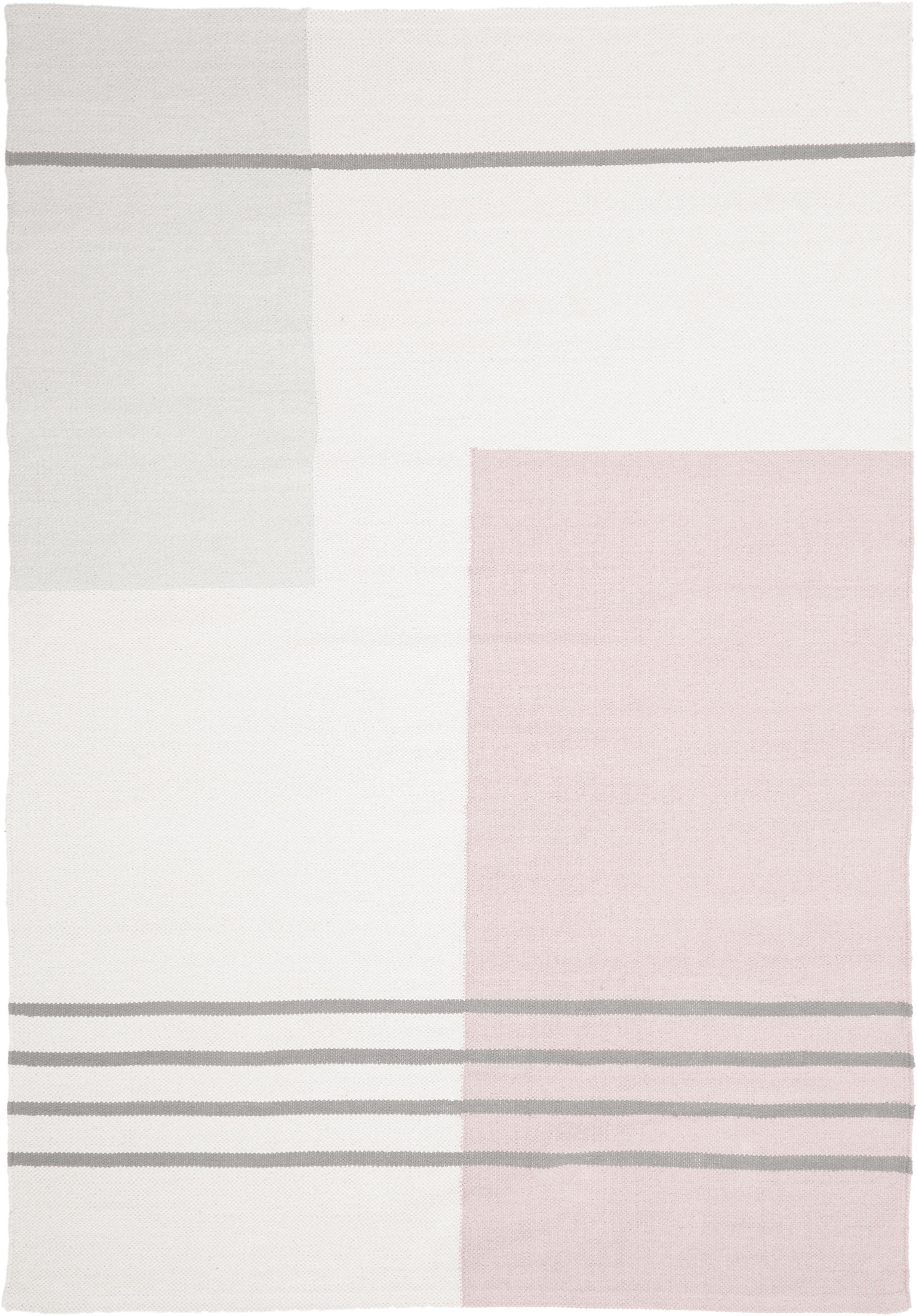 Tappeto in cotone a tessitura piatta Georgio, Cotone, Grigio, beige, rosa, Larg.160 x Lung. 230 cm (taglia M)