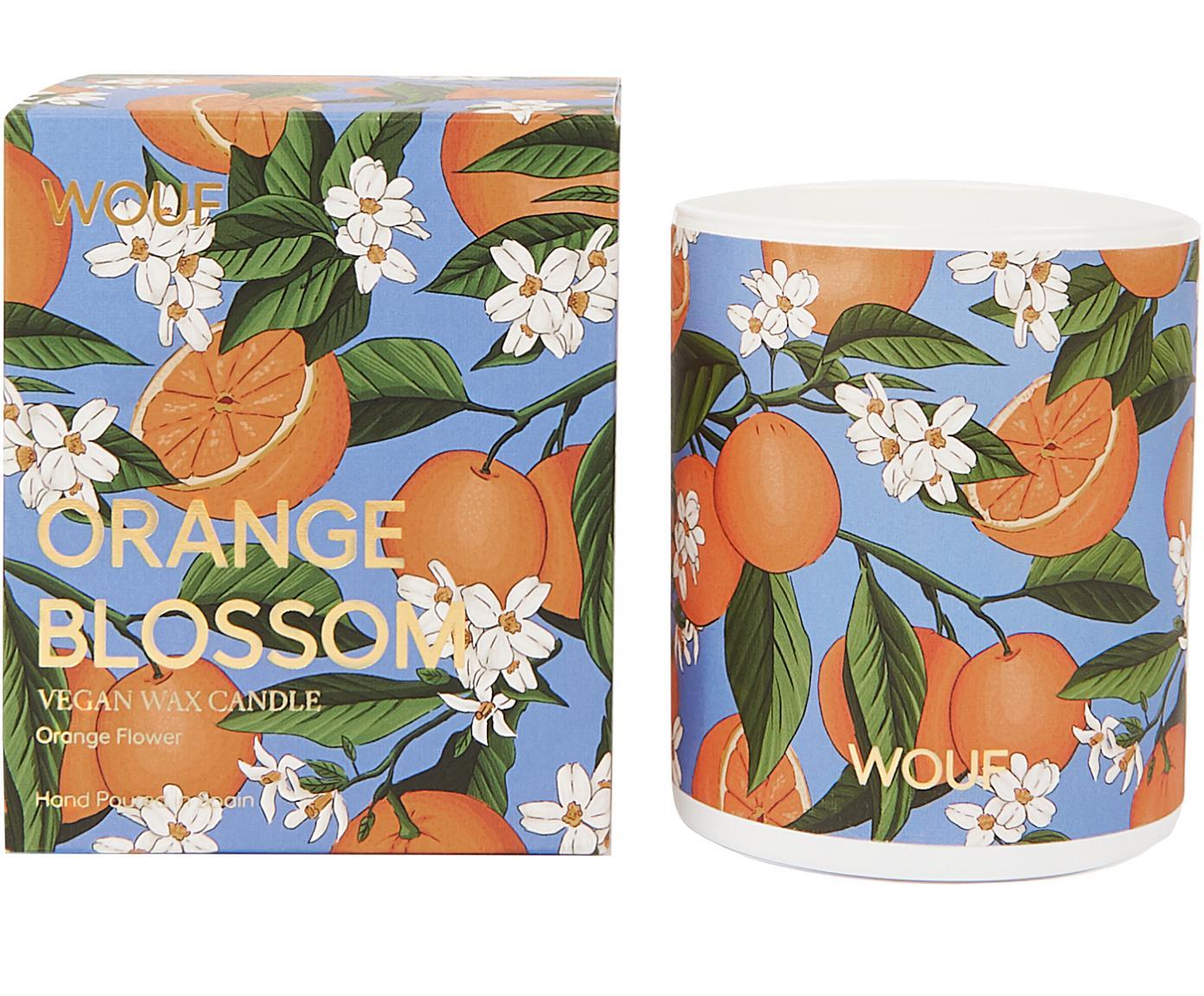 Geurkaars Orange Blossom (oranjebloesem), 100% plantaardige was, Oranje, blauw, Ø 8 x H 10 cm