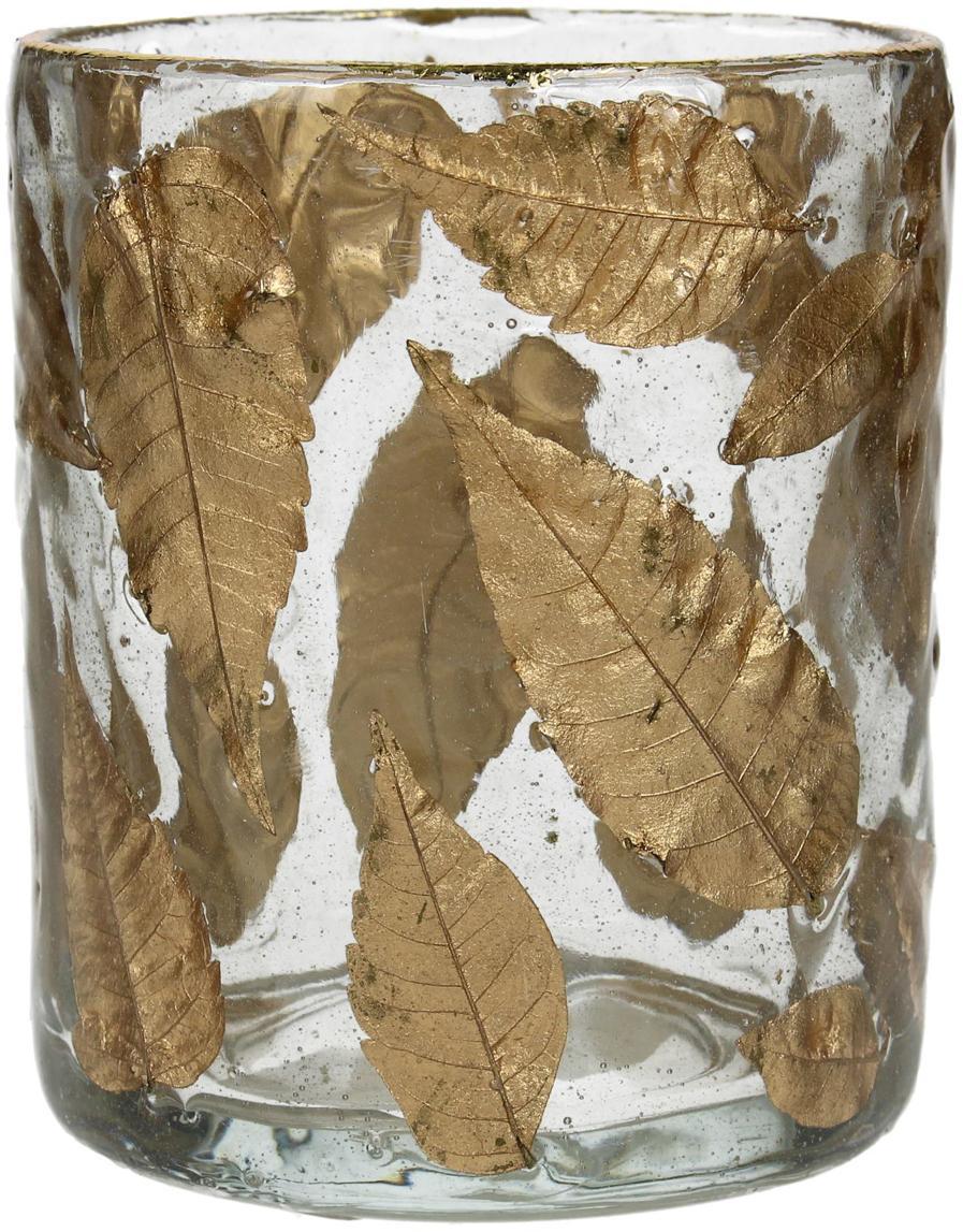 Portavelas Golden Leaf, Vidrio, hojas, Transparente, dorado, Ø 8 x Al 9 cm