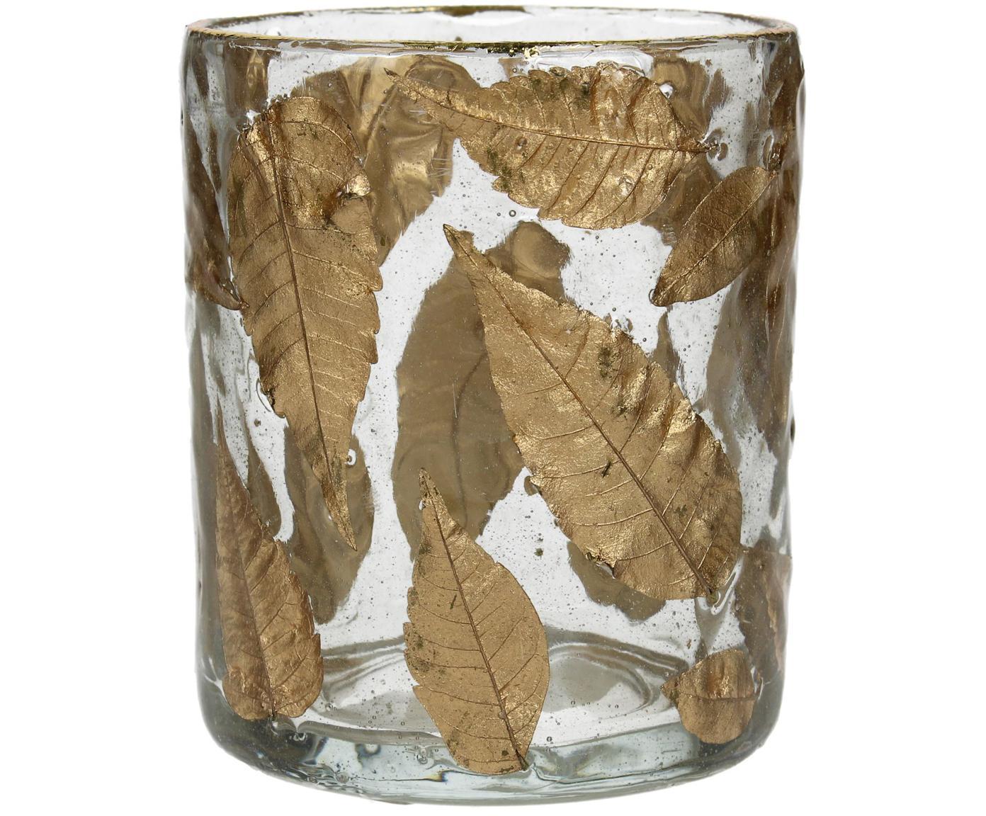 Teelicht Golden Leaf, Glas, Laubblätter, Transparent, Goldfarben, Ø 8 x H 9 cm