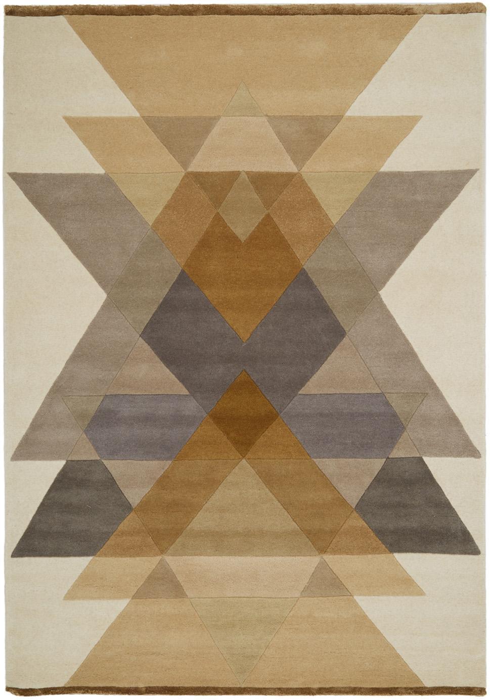 Tappeto di design taftato a mano  Freya, Retro: lana, Giallo senape, beige, grigio, marrone, Larg. 140 x Lung. 200 cm (taglia S)