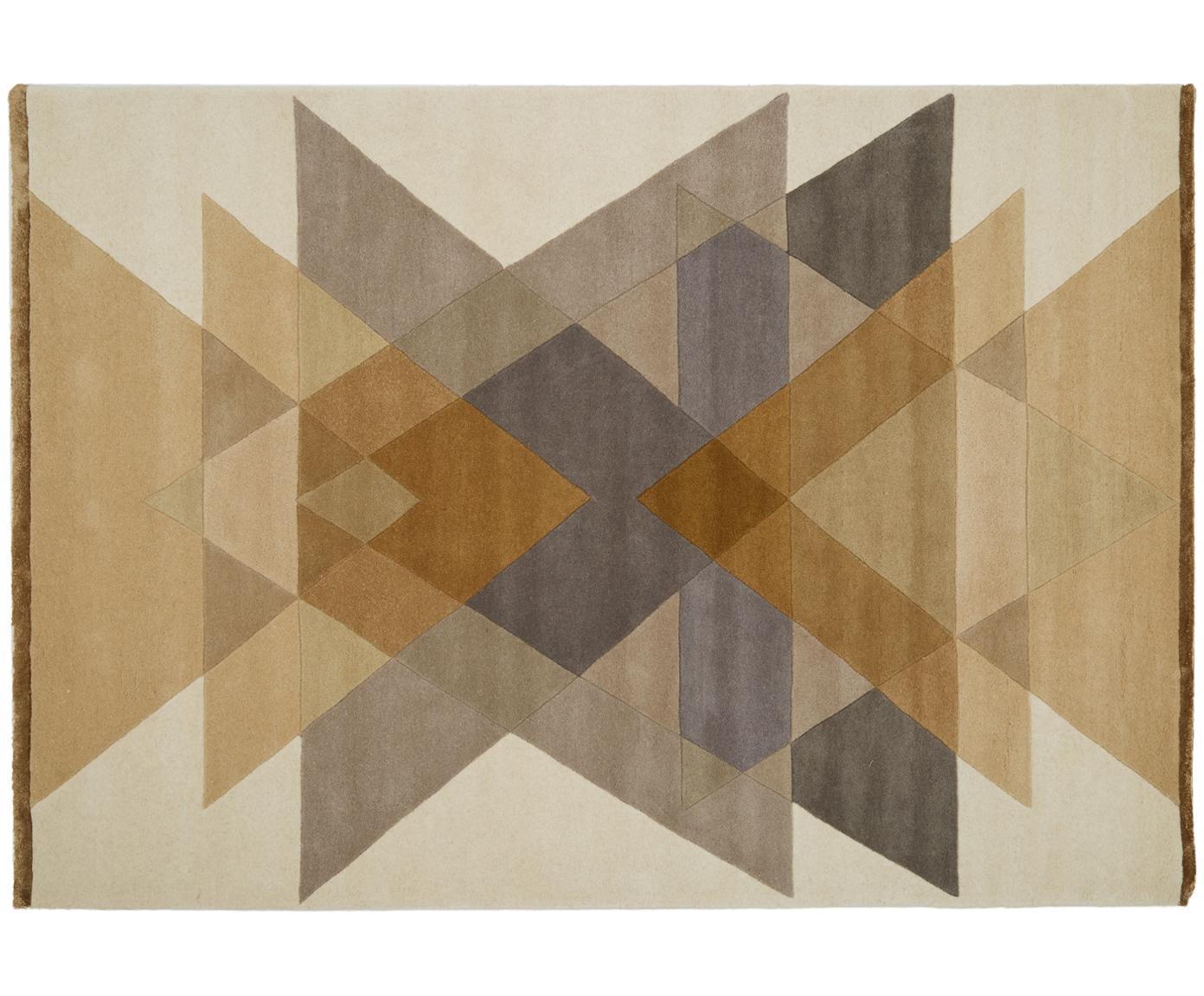 Tappeto di design taftato a mano  Freya, Vello: 95% lana, 5% viscosa, Retro: lana, Giallo senape, beige, grigio, marrone, Larg. 140 x Lung. 200 cm (taglia S)