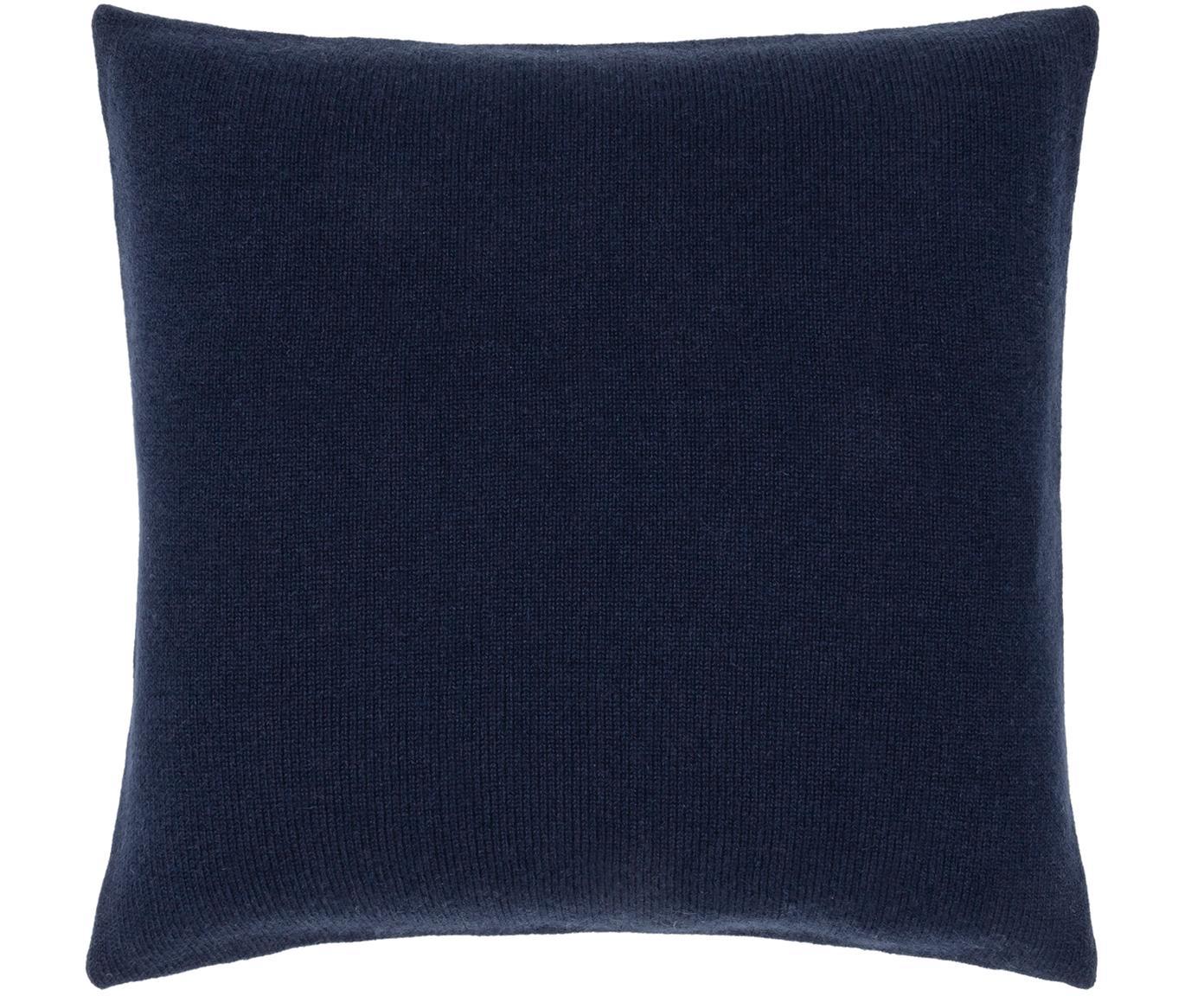 Poszewka na poduszkę z kaszmiru Viviana, 70% kaszmir, 30% wełna merynosa, Ciemny niebieski, S 40 x D 40 cm