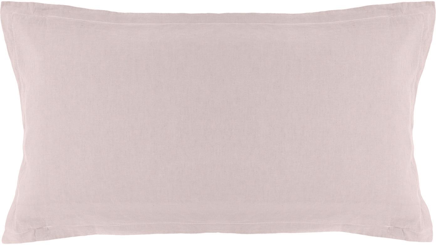 Gewaschene Leinen-Kissenbezüge Nature in Altrosa, 2 Stück, Halbleinen (52% Leinen, 48% Baumwolle)  Fadendichte 108 TC, Standard Qualität  Halbleinen hat von Natur aus einen kernigen Griff und einen natürlichen Knitterlook, der durch den Stonewash-Effekt verstärkt wird. Es absorbiert bis zu 35% Luftfeuchtigkeit, trocknet sehr schnell und wirkt in Sommernächten angenehm kühlend. Die hohe Reißfestigkeit macht Halbleinen scheuerfest und strapazierfähig., Altrosa, 40 x 80 cm
