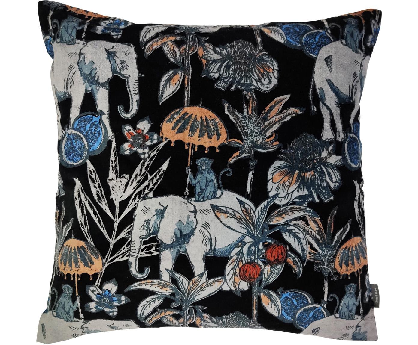 Kussen Elephant, met vulling, Zwart, multicolour, 45 x 45 cm