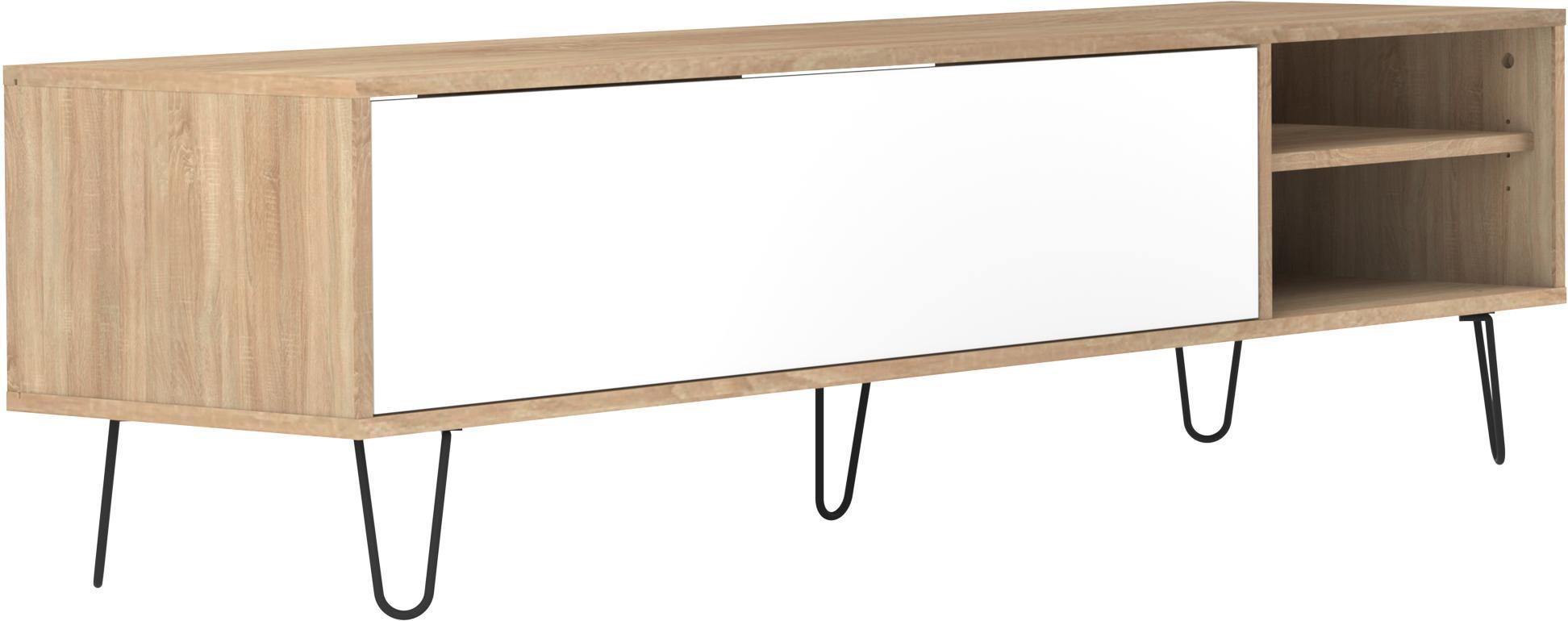 TV-Lowboard Aero mit Klapptür, Korpus: Spanplatte, melaminbeschi, Füße: Metall, lackiert, Eichenholz, Weiß, 165 x 44 cm
