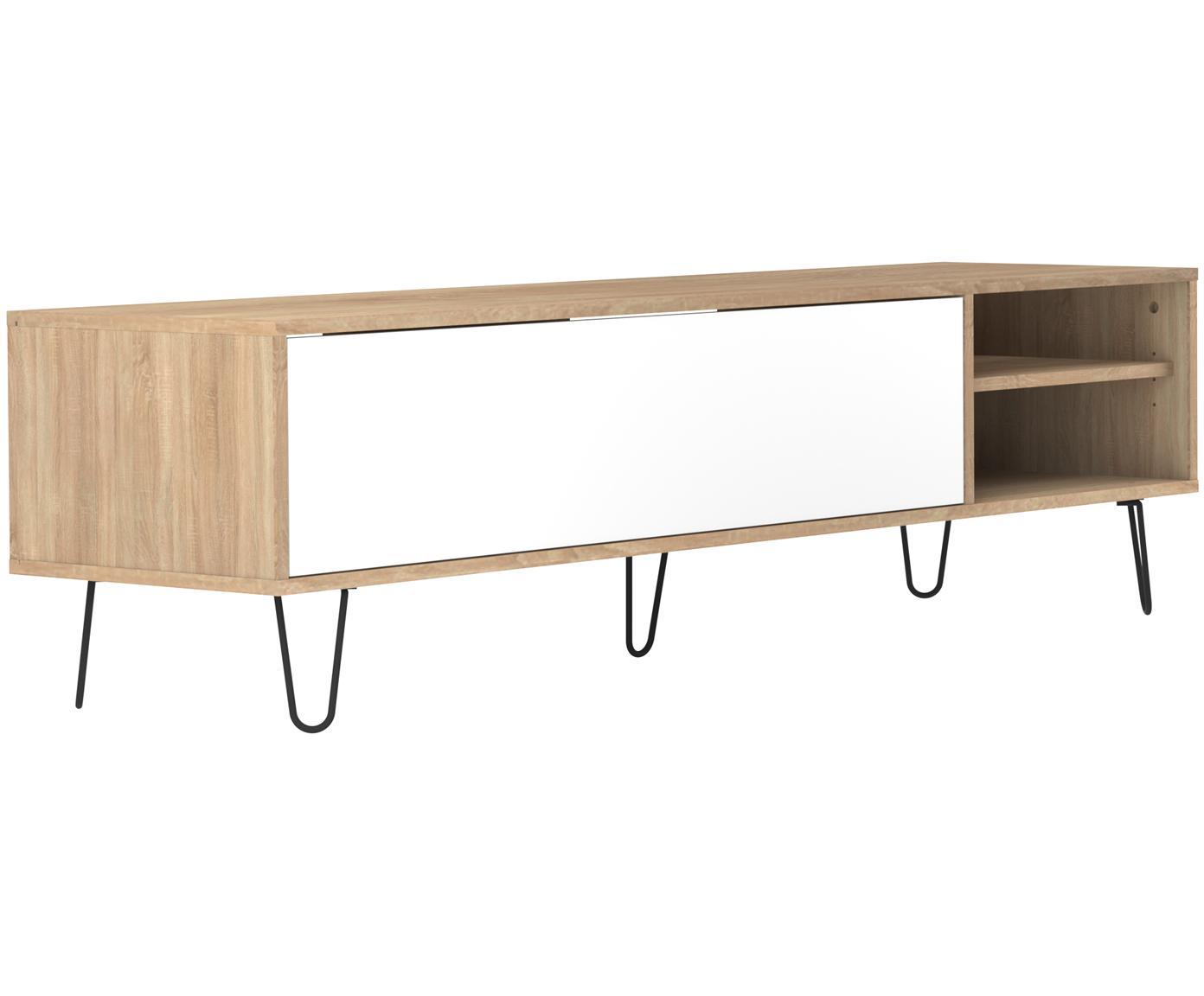 Mueble TV de diseño Aero, Estructura: aglomerado, recubierto de, Patas: metal, pintado, Roble, blanco, An 165 x Al 44 cm