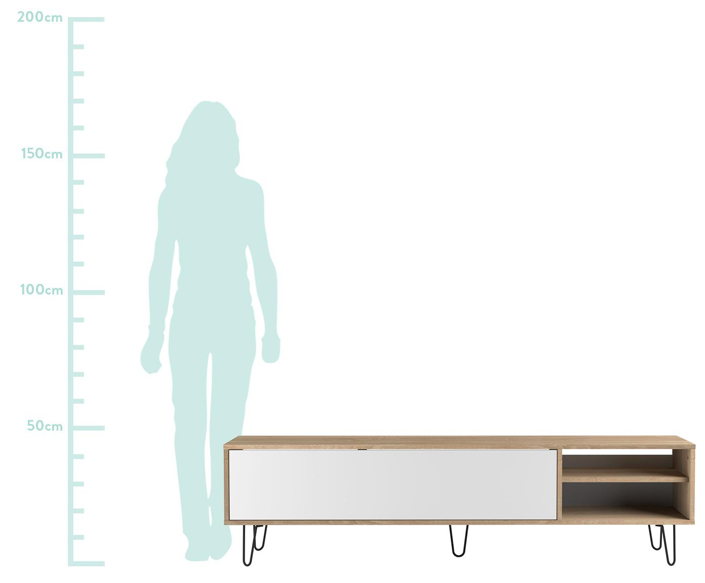Szafka RTV z drzwiczkami Aero, Korpus: płyta wiórowa pokryta mel, Nogi: metal lakierowany, Drewno dębowe, biały, S 165 x W 44 cm