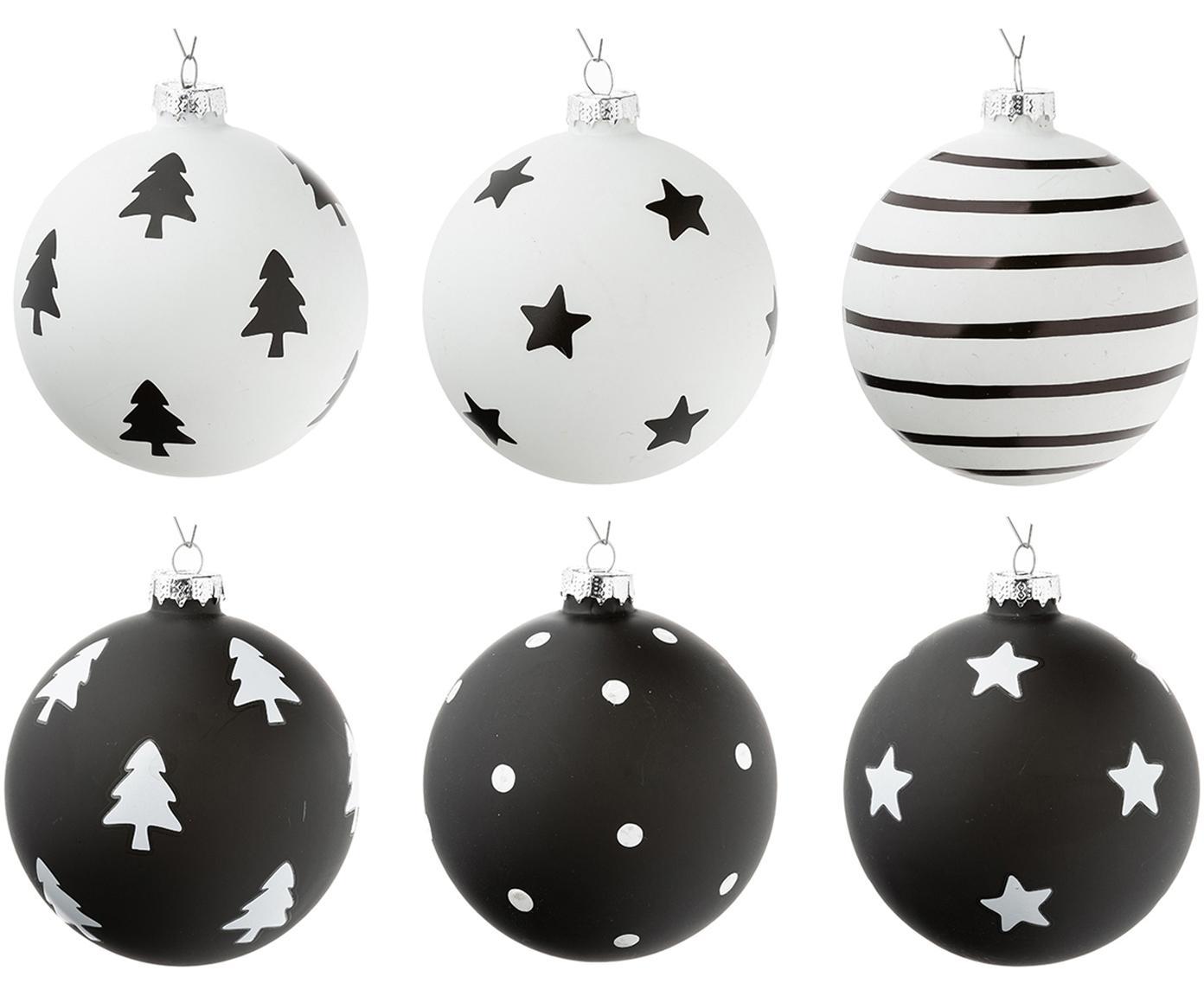 Weihnachtskugeln-Set Bullerbü, 6-tlg., Weiss, Schwarz, Ø 10 cm