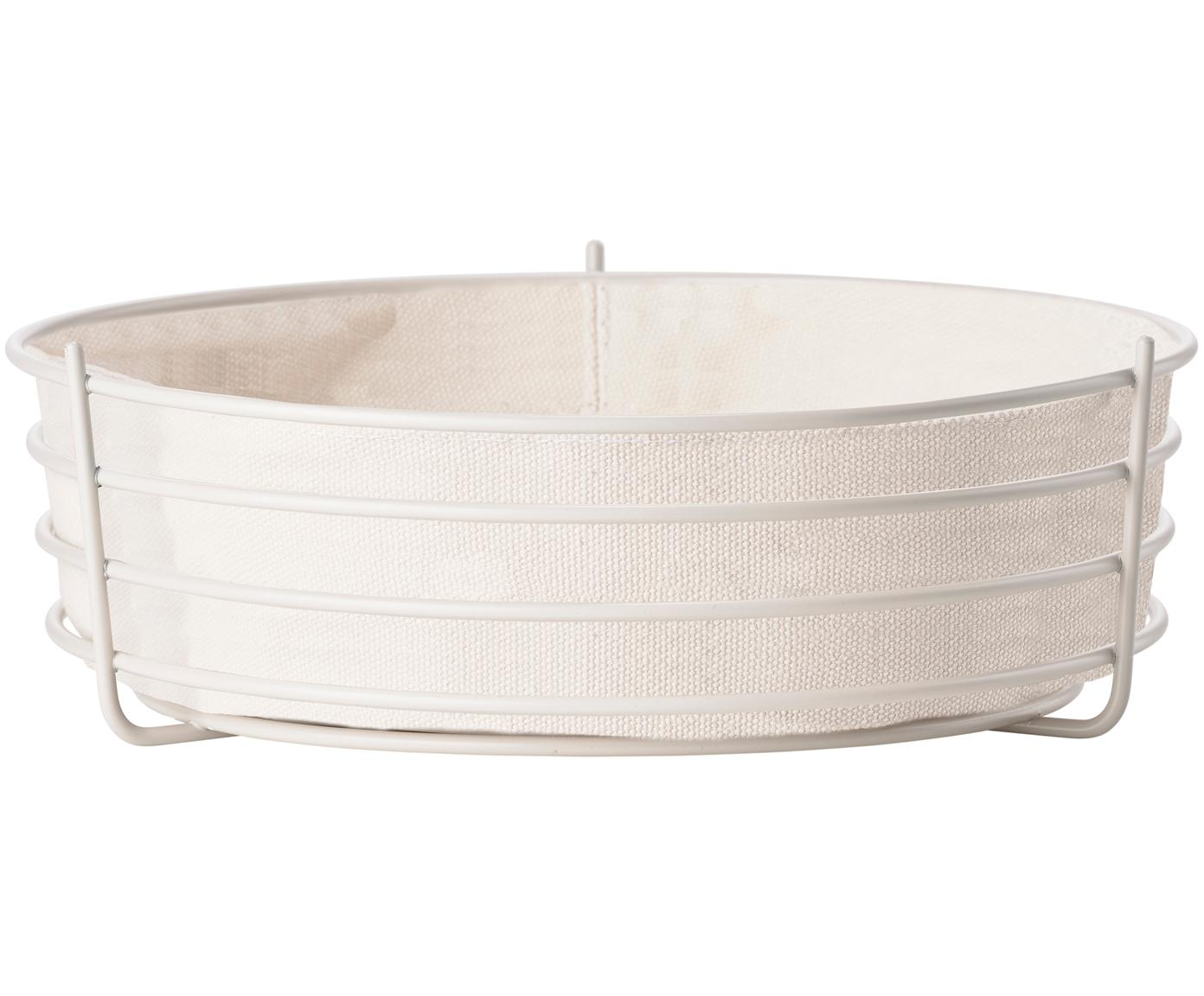 Brotkorb Gola mit herausnehmbarem Einsatz, Brotkorb: Metall, beschichtet, Beutel: Baumwolle, Helles Beige, Ø 26 x H 8 cm