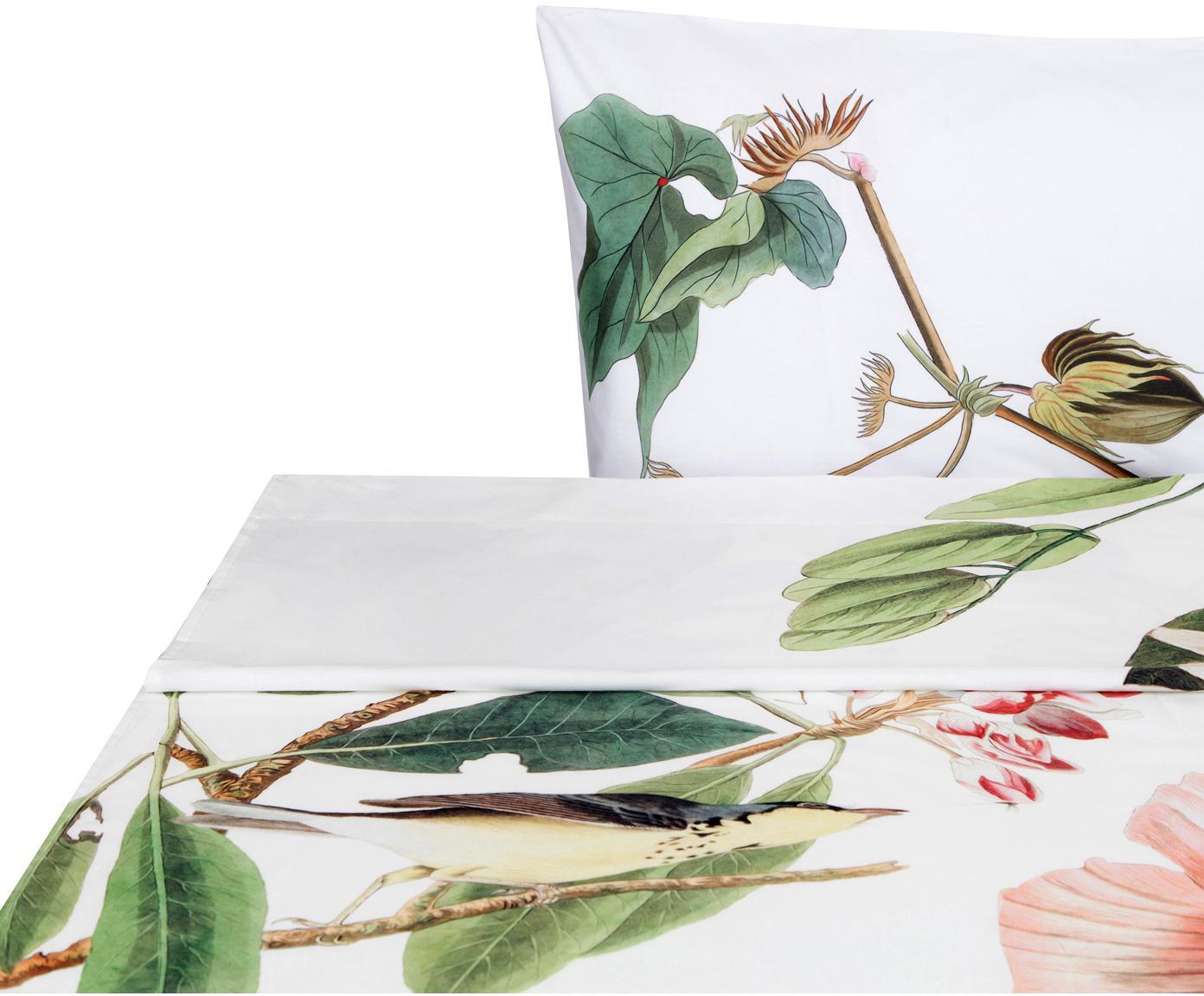 Sábana encimera Blooming, Algodón, Blanco, tonos verdes y rosas, Cama 90 cm (160 x 270 cm)