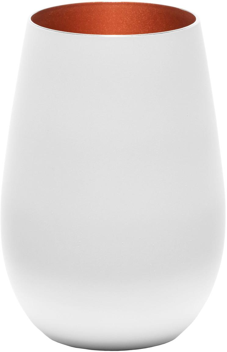 Bicchiere tipo long drink in cristallo Elements 6 pz, Cristallo, rivestito, Bianco, bronzo, Ø 9 x Alt. 12 cm