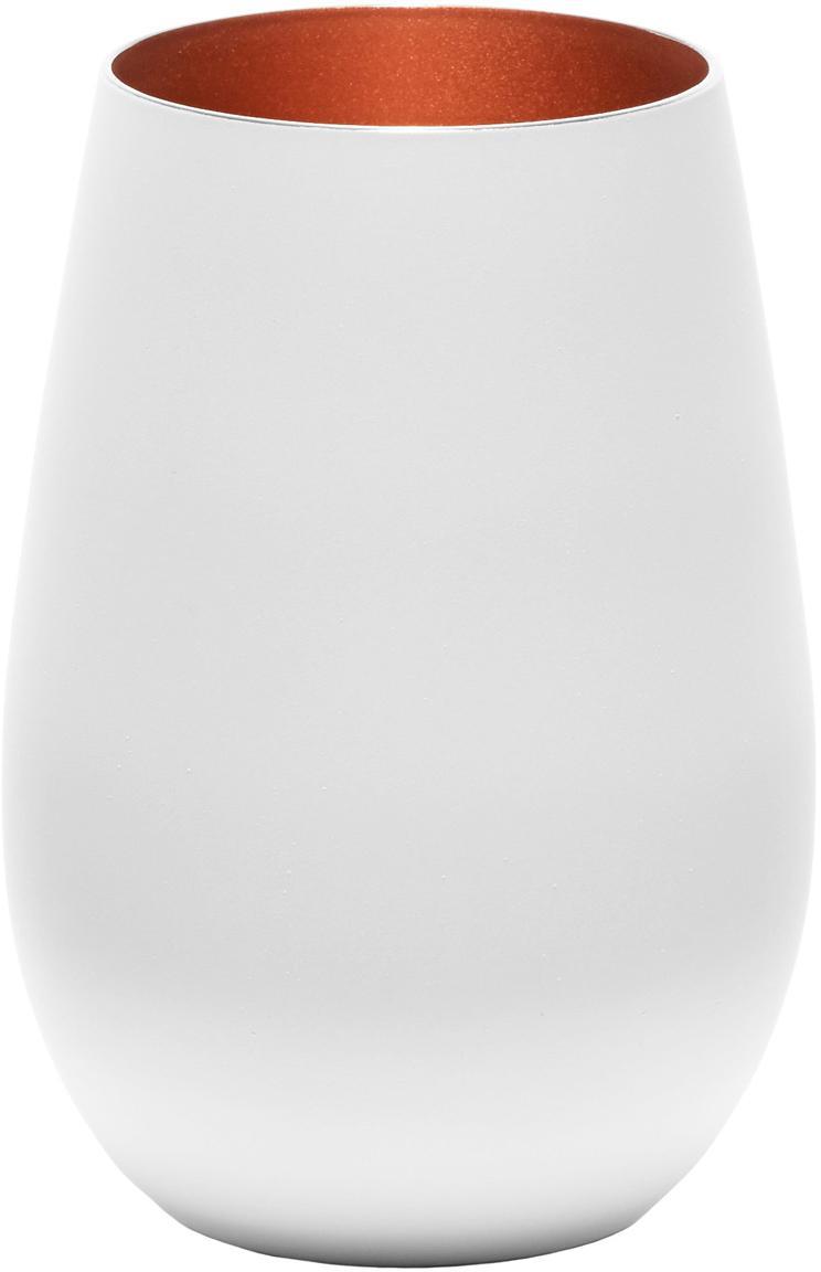Kristall-Longdrinkgläser Elements in Weiss/Kupfer, 6er-Set, Kristallglas, beschichtet, Weiss, Bronzefarben, Ø 9 x H 12 cm