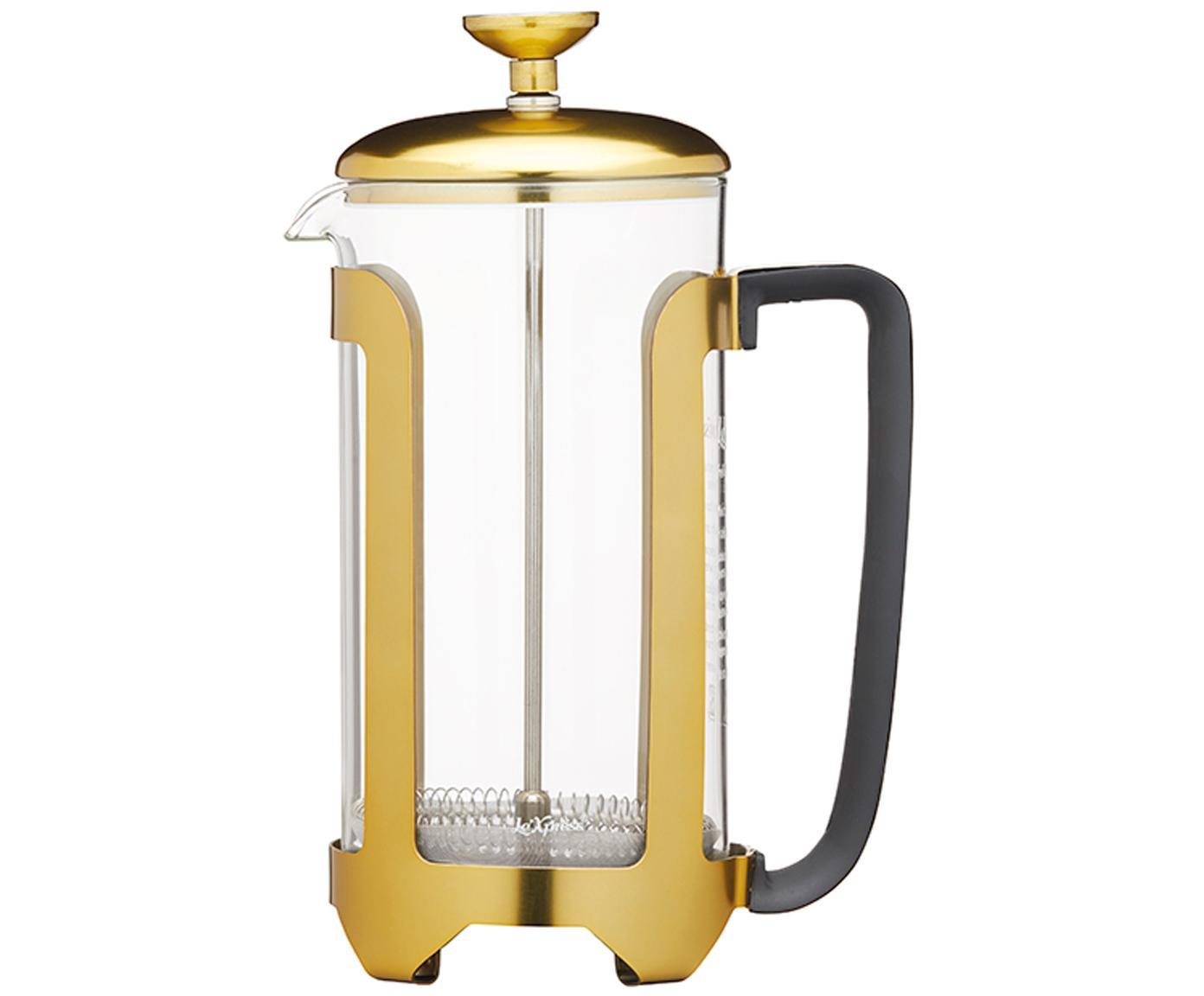 Caffettiera in oro/trasparente Le'Xpress, Vetro borosilicato, metallo, rivestito, Trasparente, ottonato, 1 l