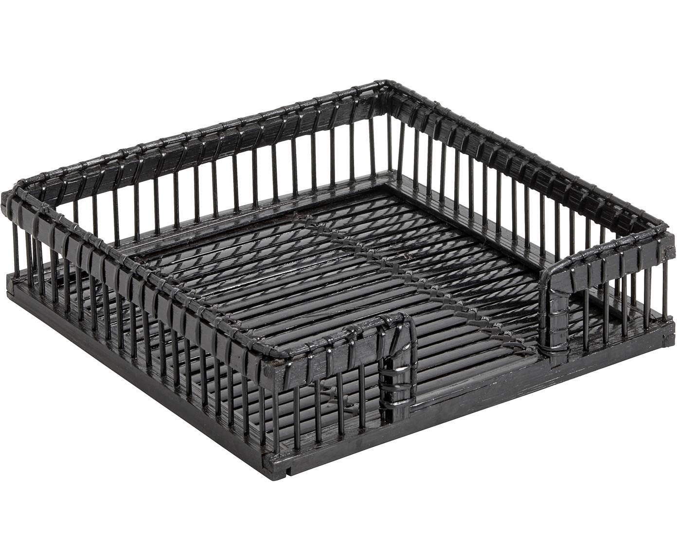 Bamboe servettenhouder Bila in zwart, Bamboehout, Zwart, B 19 x D 19 cm