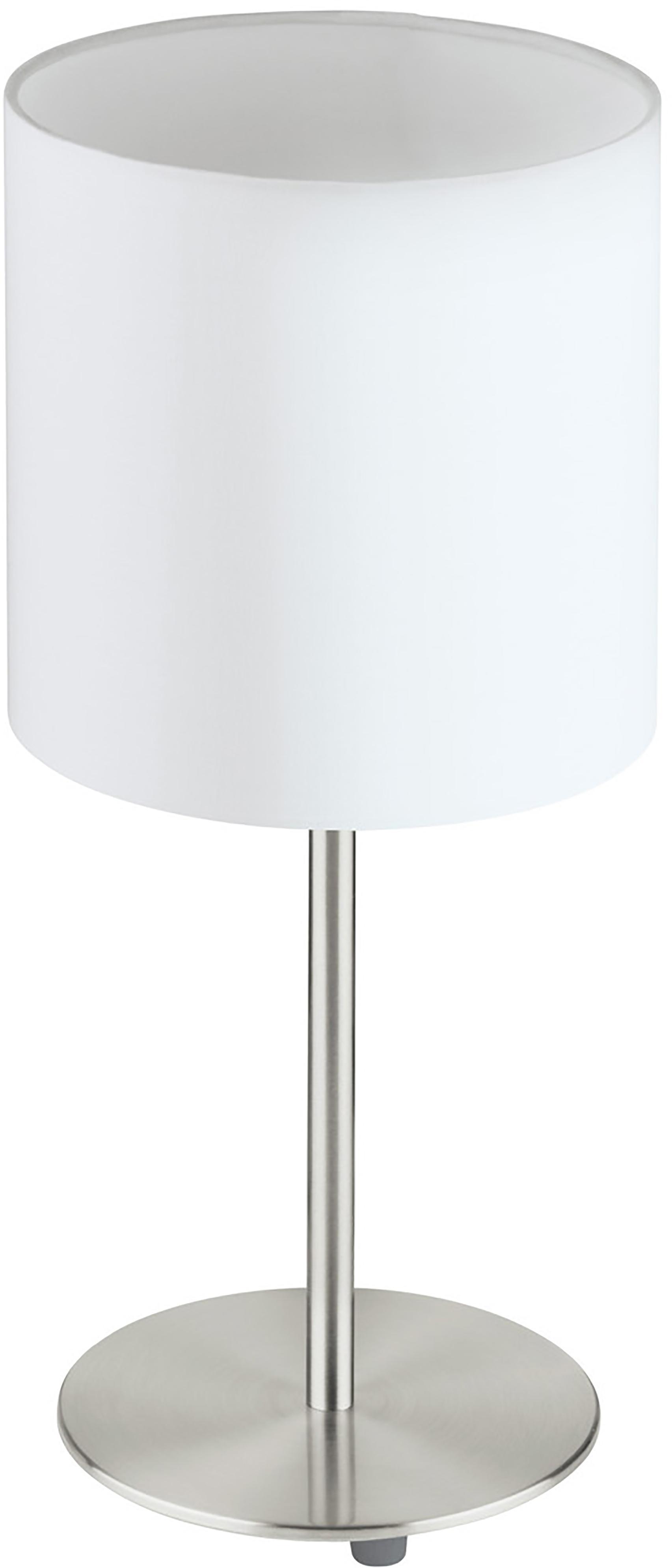 Klassische Tischlampe Mick, Lampenschirm: Textil, Weiss,Silberfarben, ∅ 18 x H 40 cm