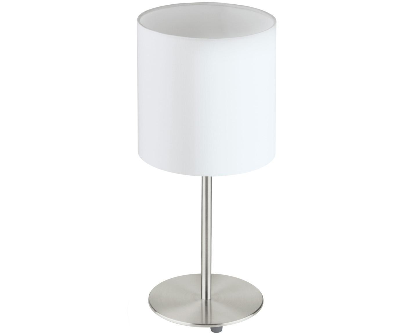 Klassische Tischleuchte Mick, Lampenschirm: Textil, Lampenfuß: Metall, vernickelt, Weiß,Silberfarben, ∅ 18 x H 40 cm