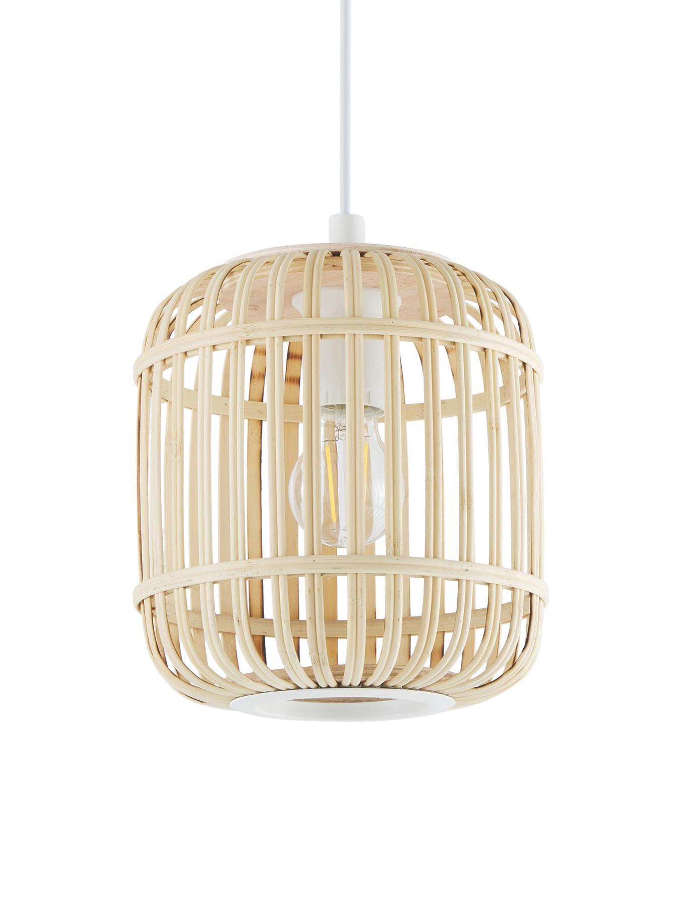 Hanglamp Adam van bamboehout, Baldakijn: gepoedercoat metaal, Lampenkap: bamboe, multiplex, Wit, beige, Ø 21 x H 24 cm