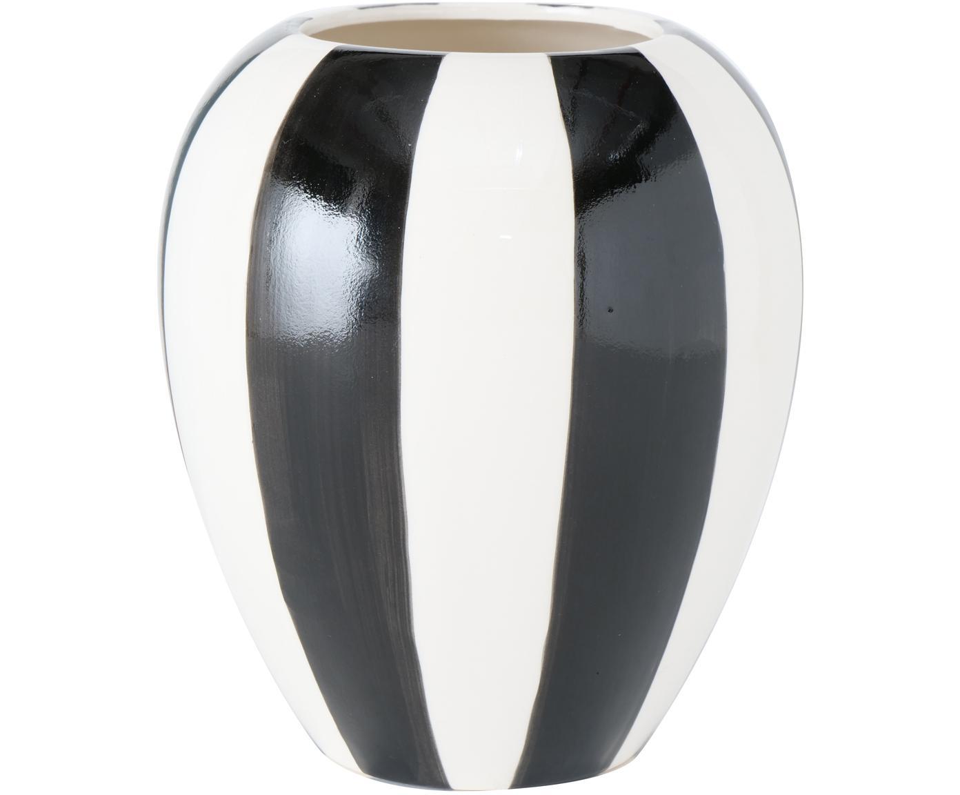 Handbemalte Steingut-Vase Emser, Steingut, Schwarz, Weiss, Ø 14 x H 16 cm