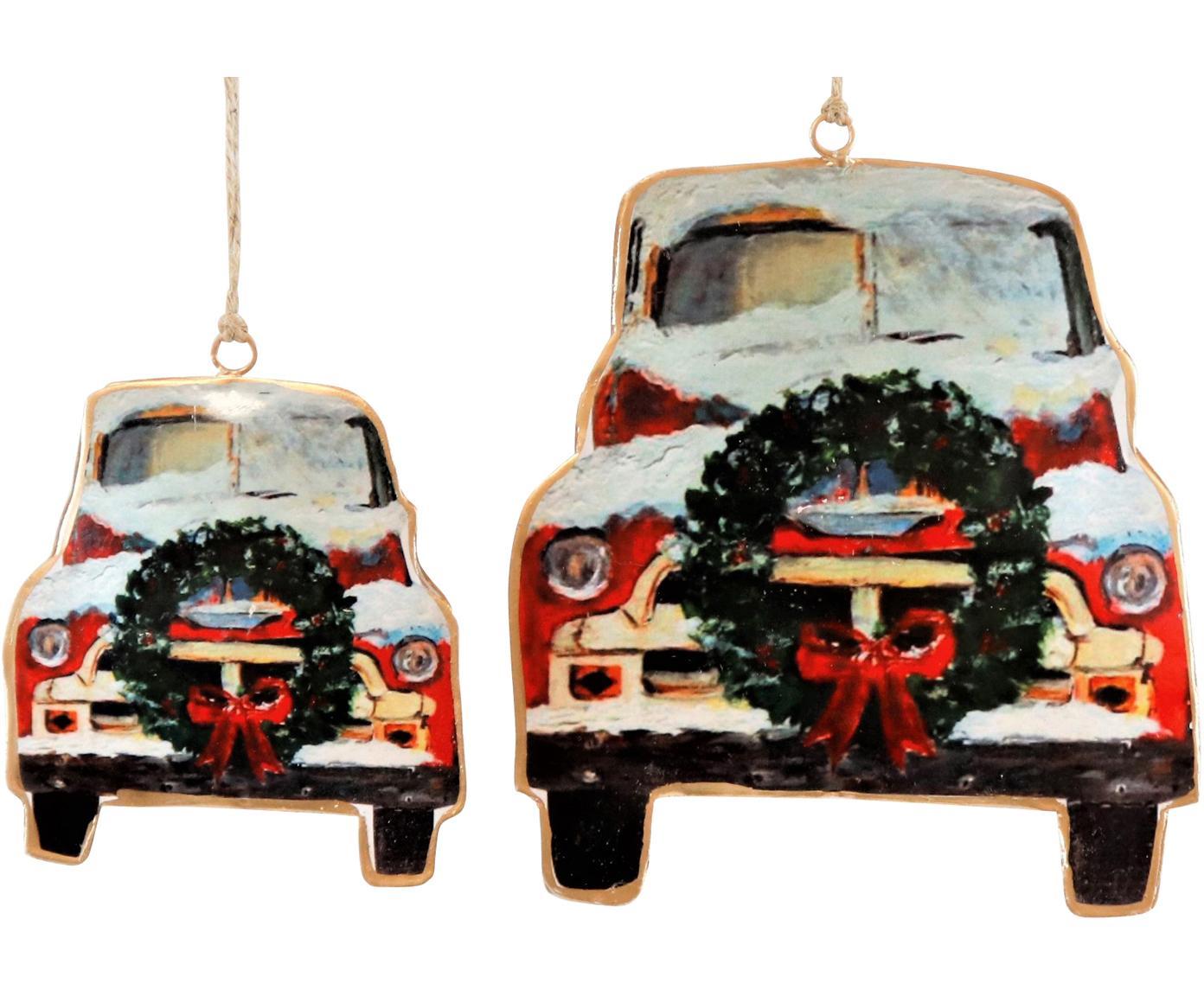 Set de adornos navideños Cars, 2pzas., Metal, Rojo, negro, blanco, Set de diferentes tamaños