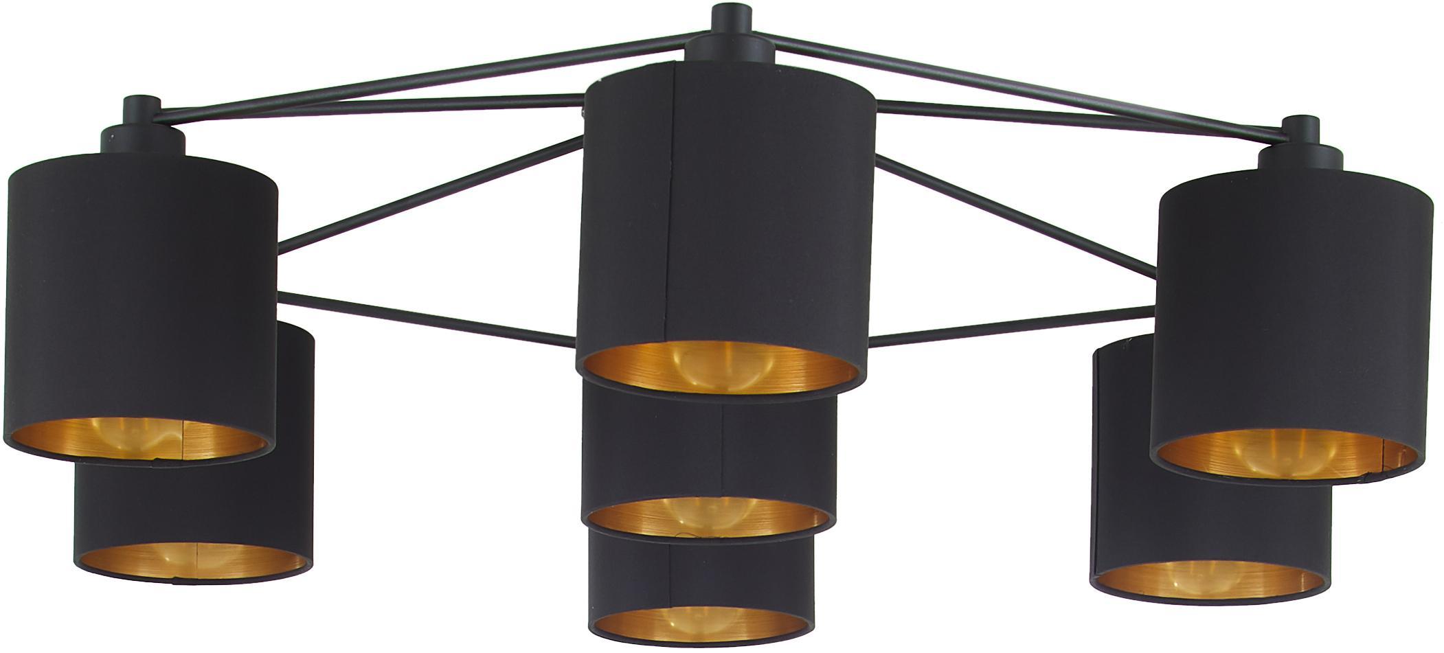 Faretti da soffitto neri Staiti, Paralume: poliestere, Nero, Ø 84 x Alt. 24 cm