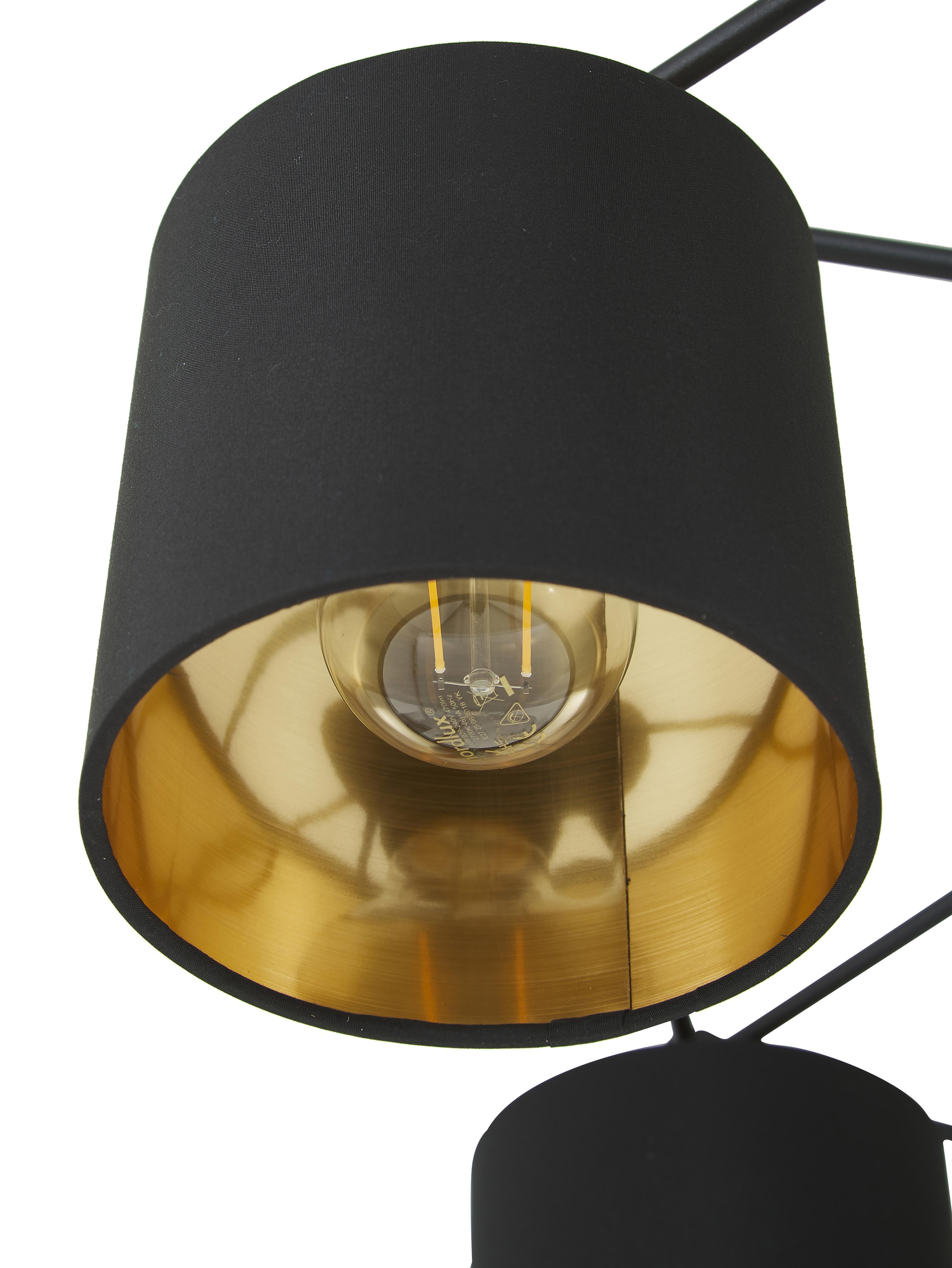 Große Deckenleuchte Staiti in Schwarz, Lampenschirm: Polyester, Schwarz, Ø 84 x H 24 cm