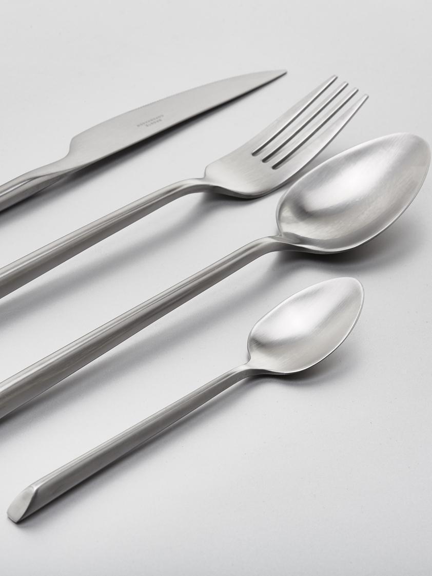 Satiniertes Besteck-Set Sletten aus rostfreiem Stahl, 4 Personen (16-tlg.), Rostfreier Stahl 18/8, Stahl, satiniert, L 22 cm