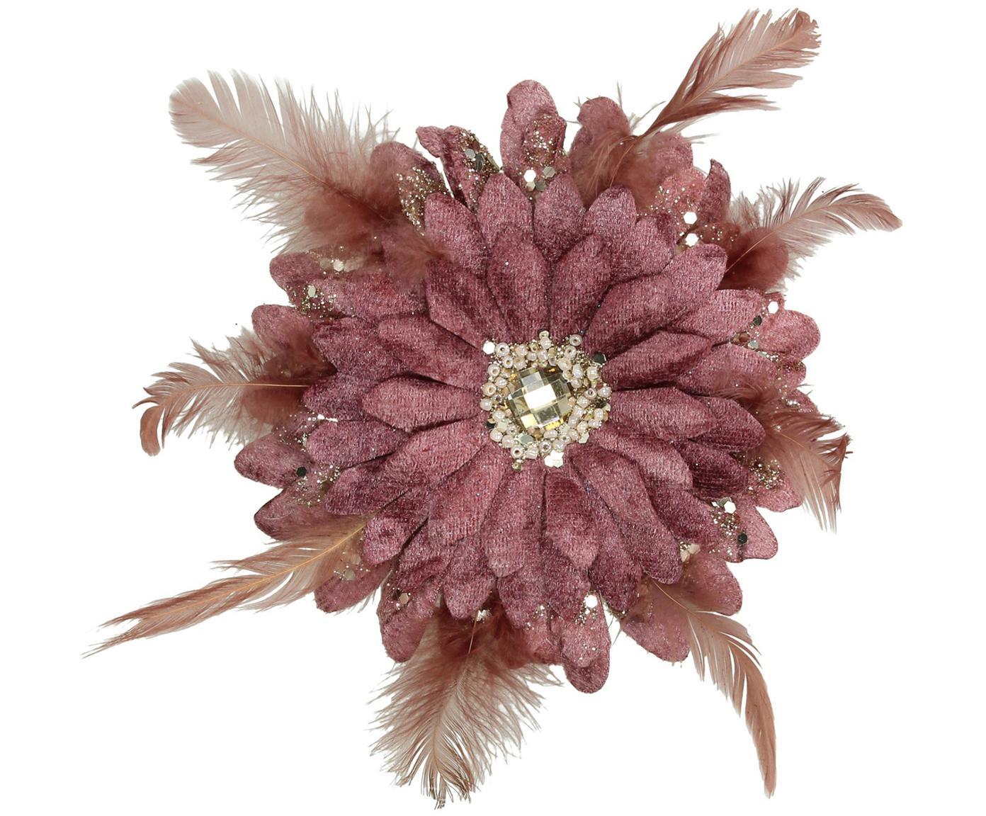 Baumanhänger Flower, Polyester, Kunststoff, Altrosa, Goldfarben, Ø 20 cm