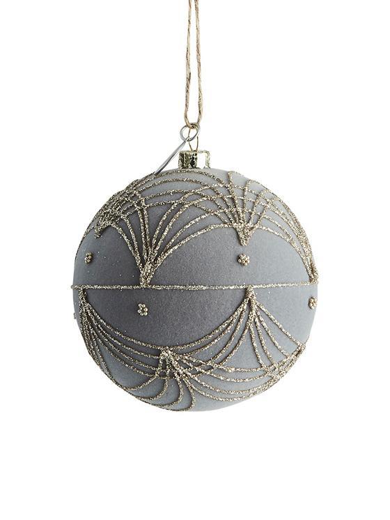 Bolas de Navidad Jalia, Ø8cm, Plástico, terciopelo de poliéster, Gris, dorado, Ø 8 cm