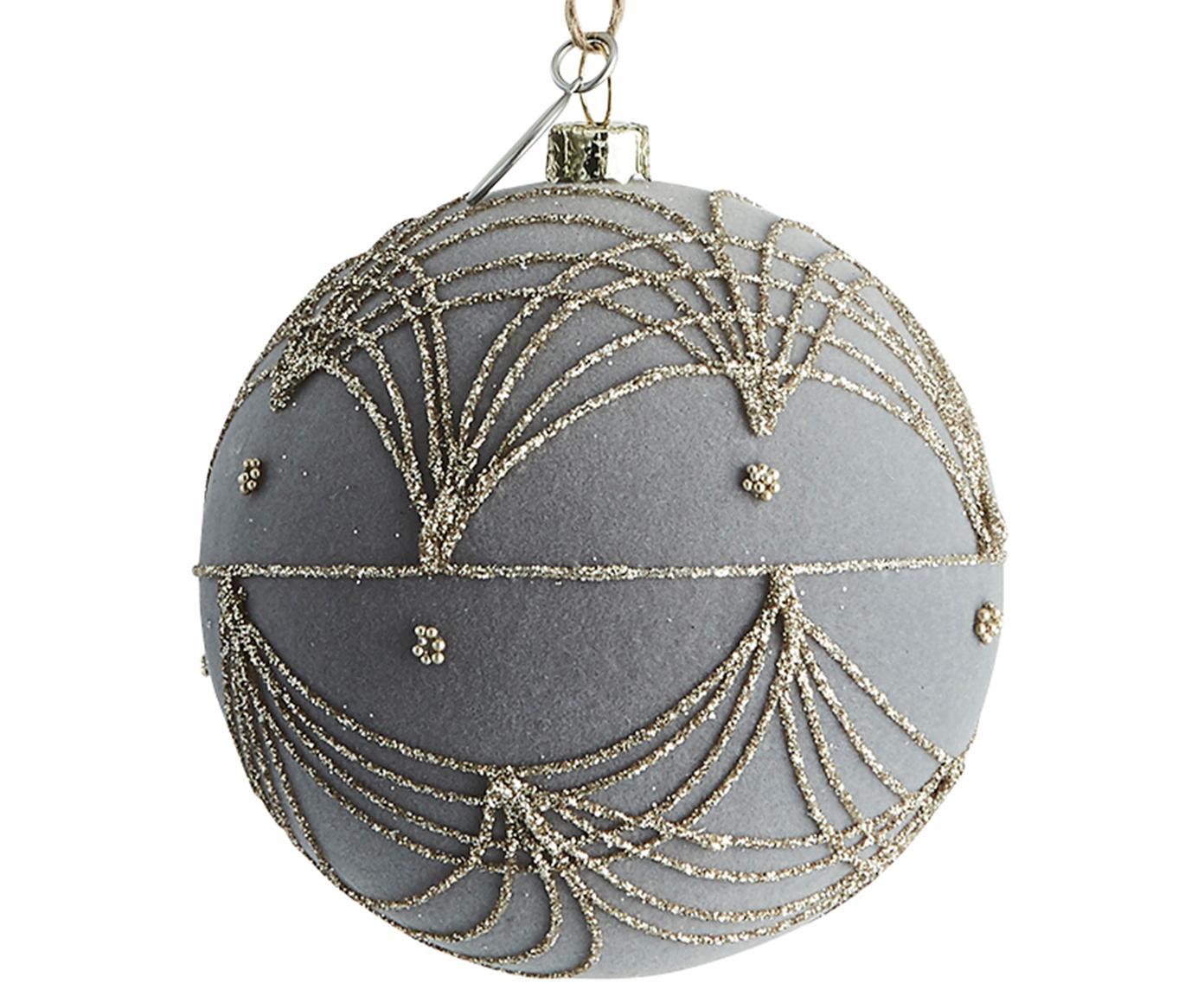 Bolas de Navidad Jalia, Plástico, terciopelo de poliéster, Gris, dorado, Ø 8 cm