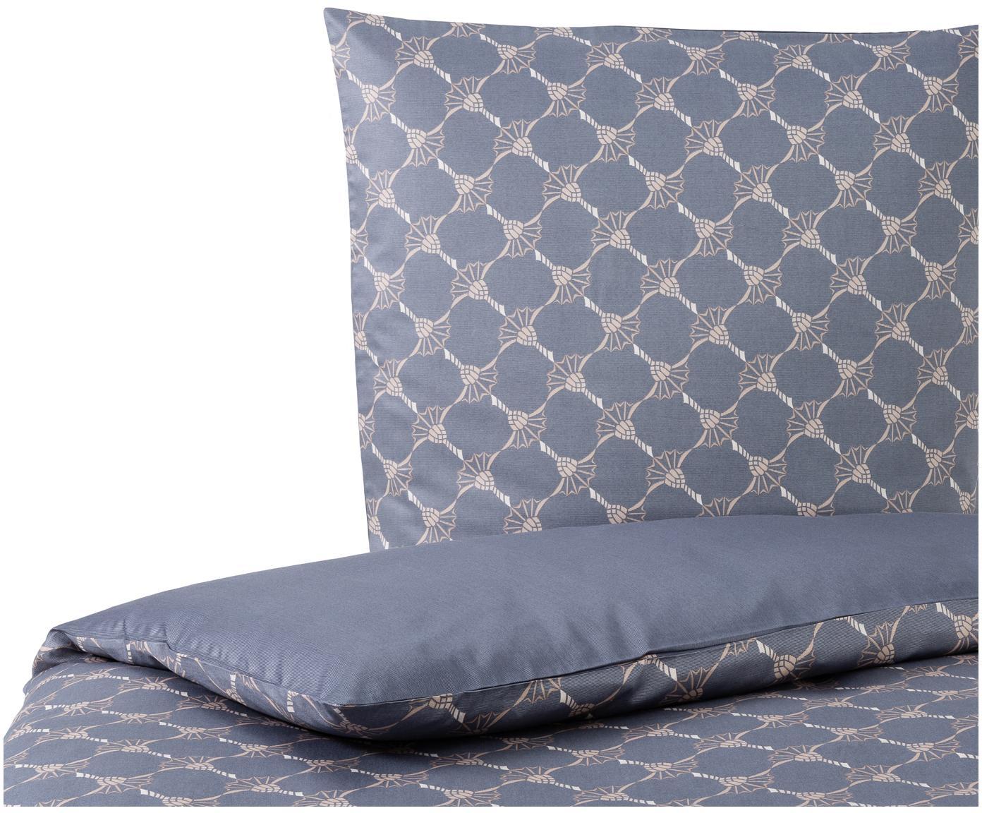 Pościel z makosatyny Cornflower Gradiant, Makosatyna bawełniana, Odcienie niebieskiego, beżowy, kremowy, 135 x 200 cm