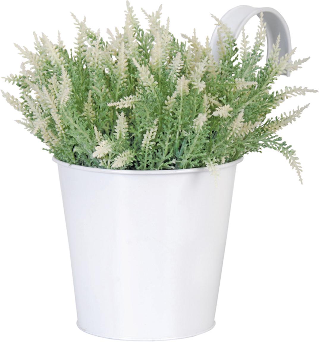 Plantenpot met haak Larissa, Metaal, Wit, 16 x 22 cm