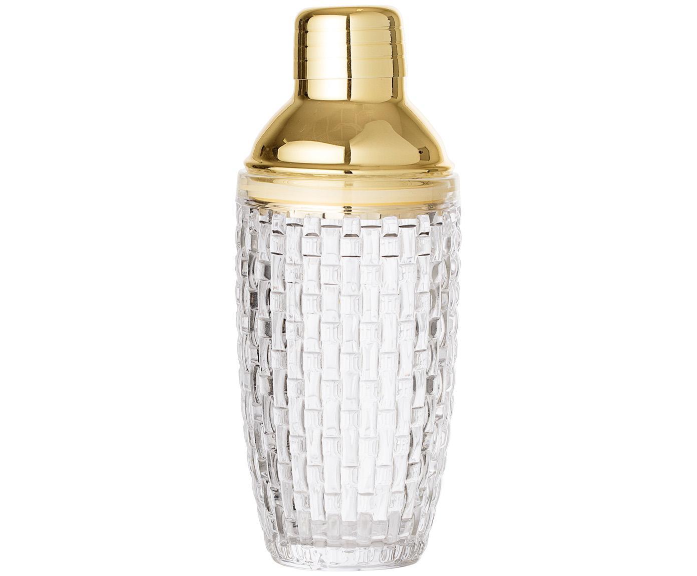 Cocktailshaker Jolin, Shaker: glas, Sluiting: edelstaal, Transparant, goudkleurig, Ø 9 x H 22 cm