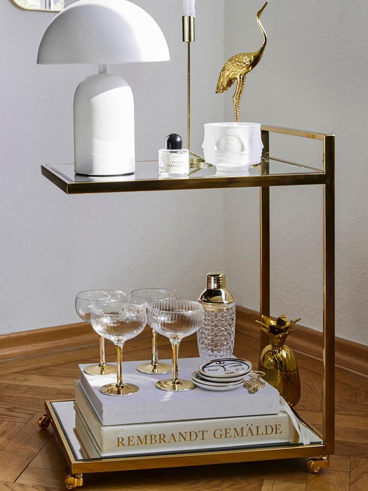 Cocktail Shaker Jolin, Shaker: Glas, Verschluss: Edelstahl, Transparent, Goldfarben, Ø 8 x H 20 cm