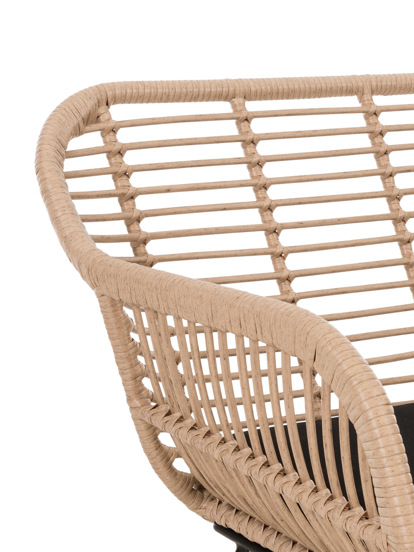 Garten-Sitzbank Costa mit Polyrattan, Sitzfläche: Polyethylen-Geflecht, Gestell: Metall, pulverbeschichtet, Hellbraun, B 126 x T 68 cm