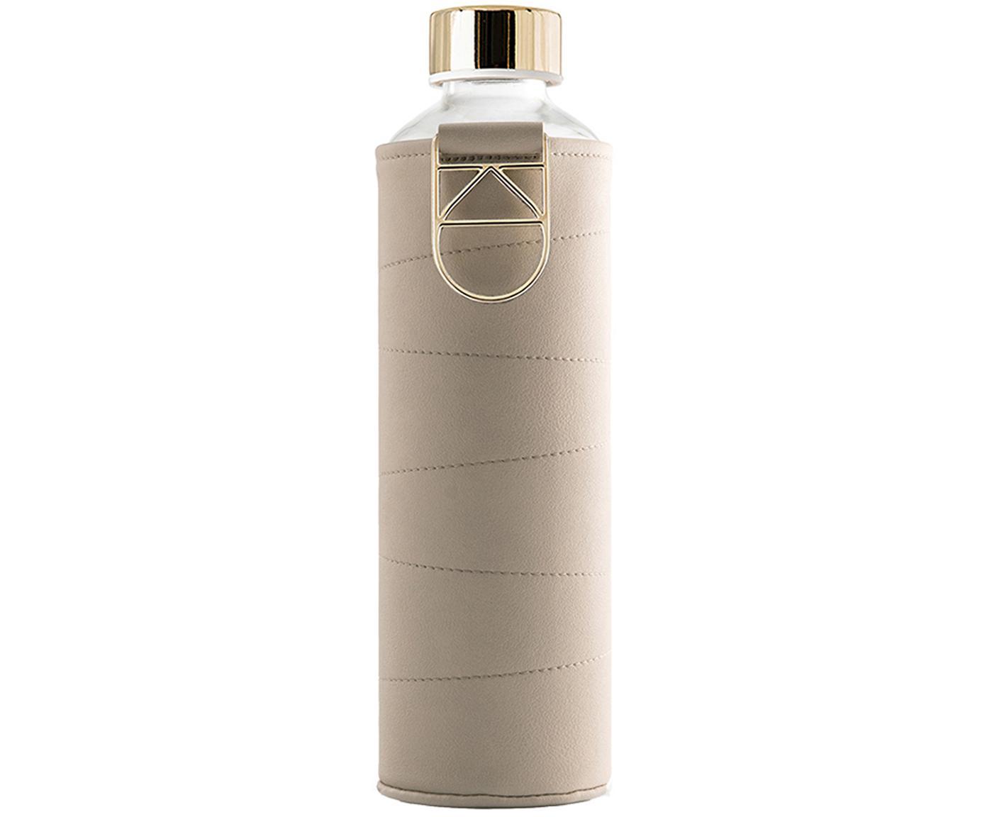 Botella Mismatch, Botella: vidrio borosilicato, Funda: cuero sintético, Beige, transparente, Ø 8 x Al 26 cm