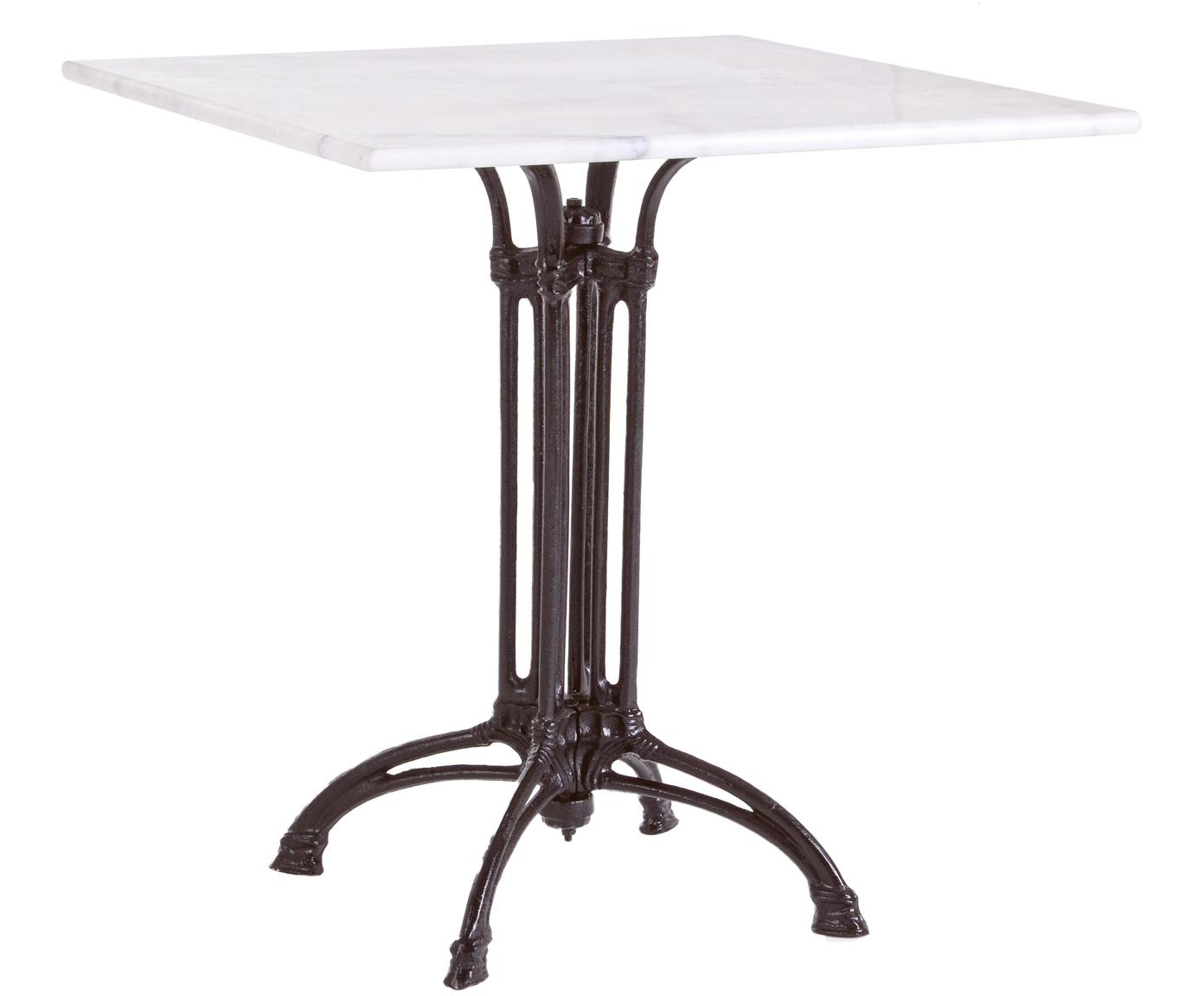 Mesa de exterior Loren, con tablero de mármol, Tablero: mármol, Estructura: acero recubierto, Negro, blanco, veteado, An 70 x Al 71 x F 70 cm