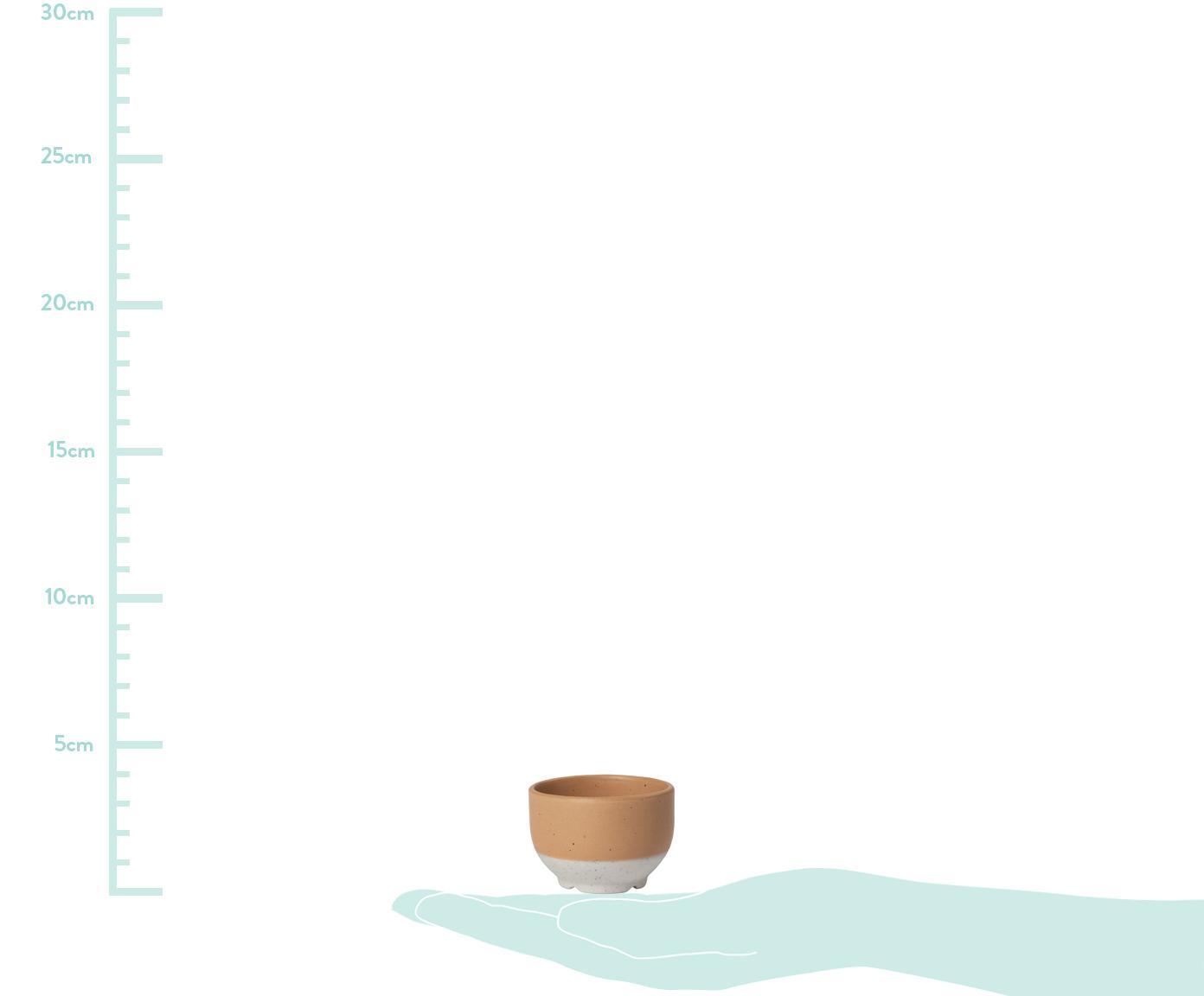 Steingut-Eierbecher Eli mit mattem Finish, 4 Stück, Steingut, Hellbraun, Beige, Ø 5 x H 4 cm