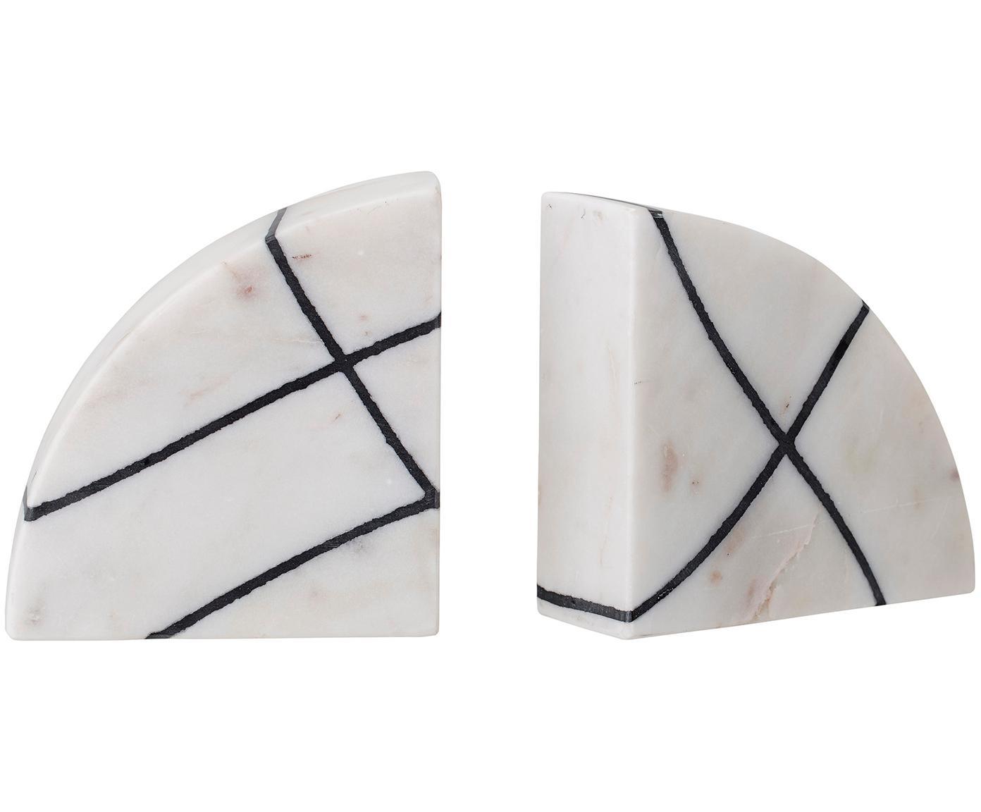 Marmor-Buchstützen-Set Whitey, 2-tlg., Marmor, Weiß, marmoriert, Schwarz, 14 x 14 cm