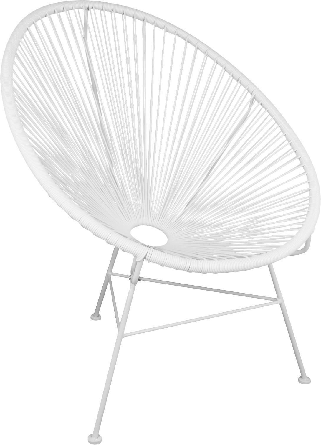 Sedia a poltrona intrecciata Bahia, Seduta: materiale sintetico, Struttura: metallo, verniciato a pol, Materiale sintetico: bianco. Struttura: bianco, Larg. 81 x Prof. 73 cm
