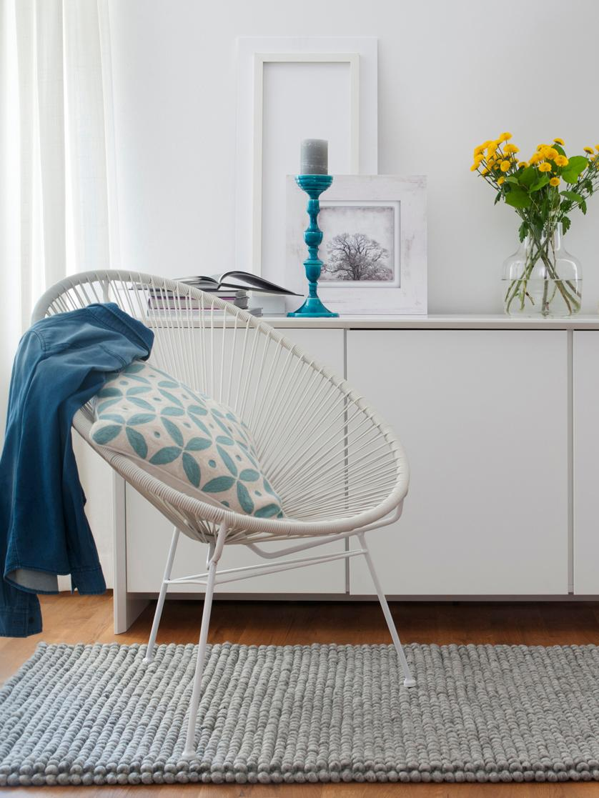 Loungesessel Bahia aus Kunststoff-Geflecht, Sitzfläche: Kunststoff, Gestell: Metall, pulverbeschichtet, Kunststoff: Weiß. Gestell: Weiß, B 81 x T 73 cm