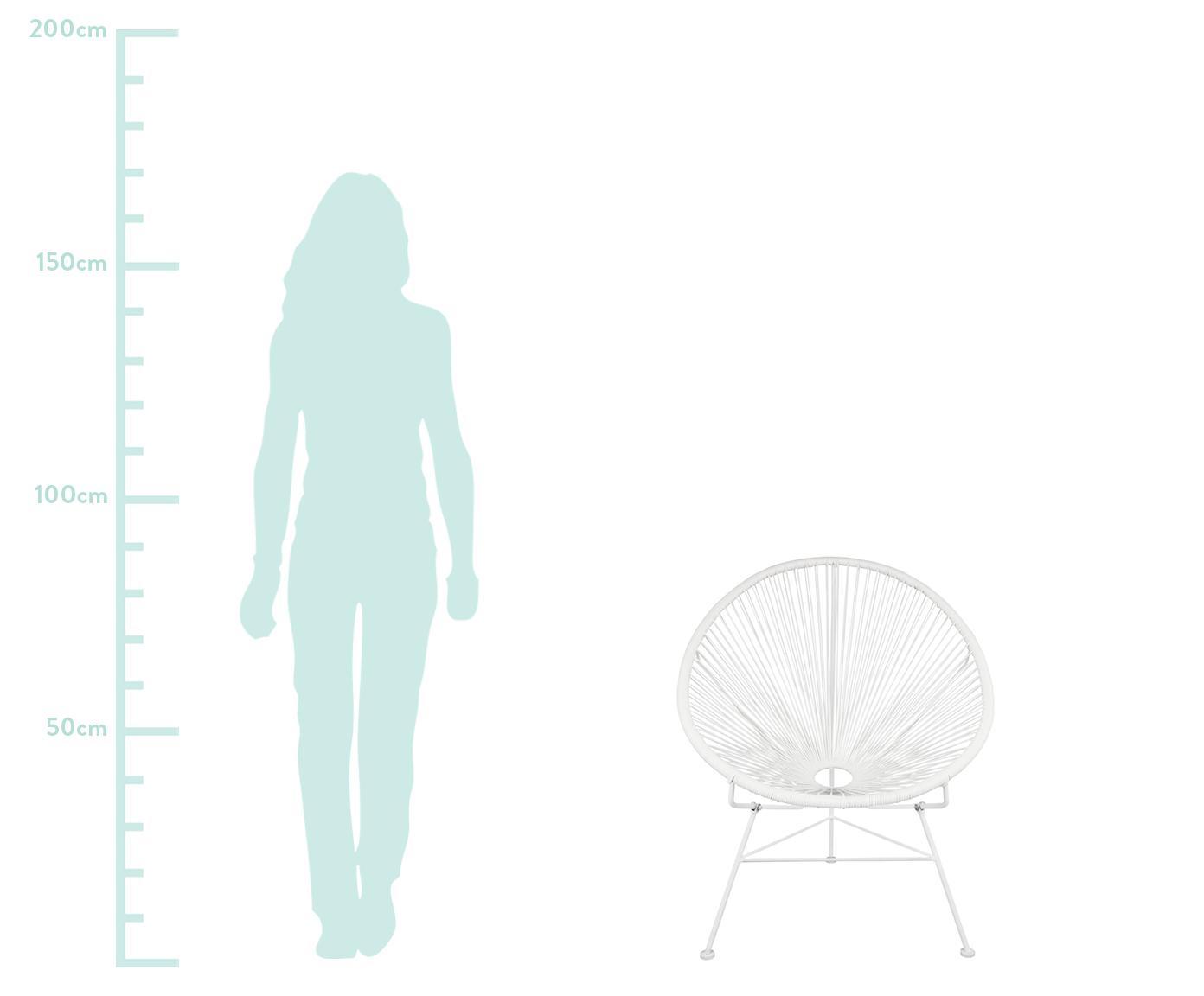 Loungefauteuil Bahia uit kunstvlechtwerk, Zitvlak: kunststof, Frame: gepoedercoat metaal, Zitvlak: wit. Frame: wit, B 81 x D 73 cm