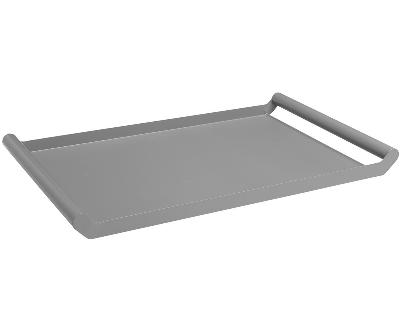 Serviertablett Charlie in Grau, Metall, beschichtet, Grau, B 50 x T 30 cm