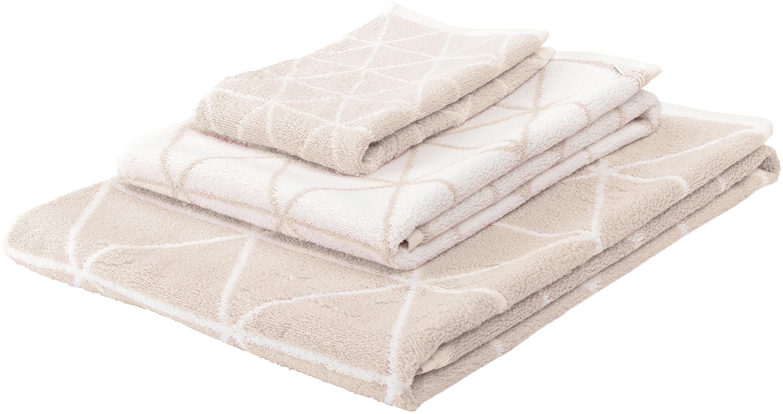 Komplet dwustronnych ręczników Elina, 3 elem., Odcienie piaskowego, kremowobiały, Różne rozmiary
