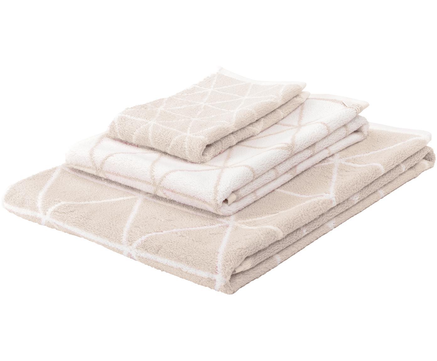 Set de toallas, caras distintas Elina, 3pzas., Color arena, blanco crema, Tamaños diferentes