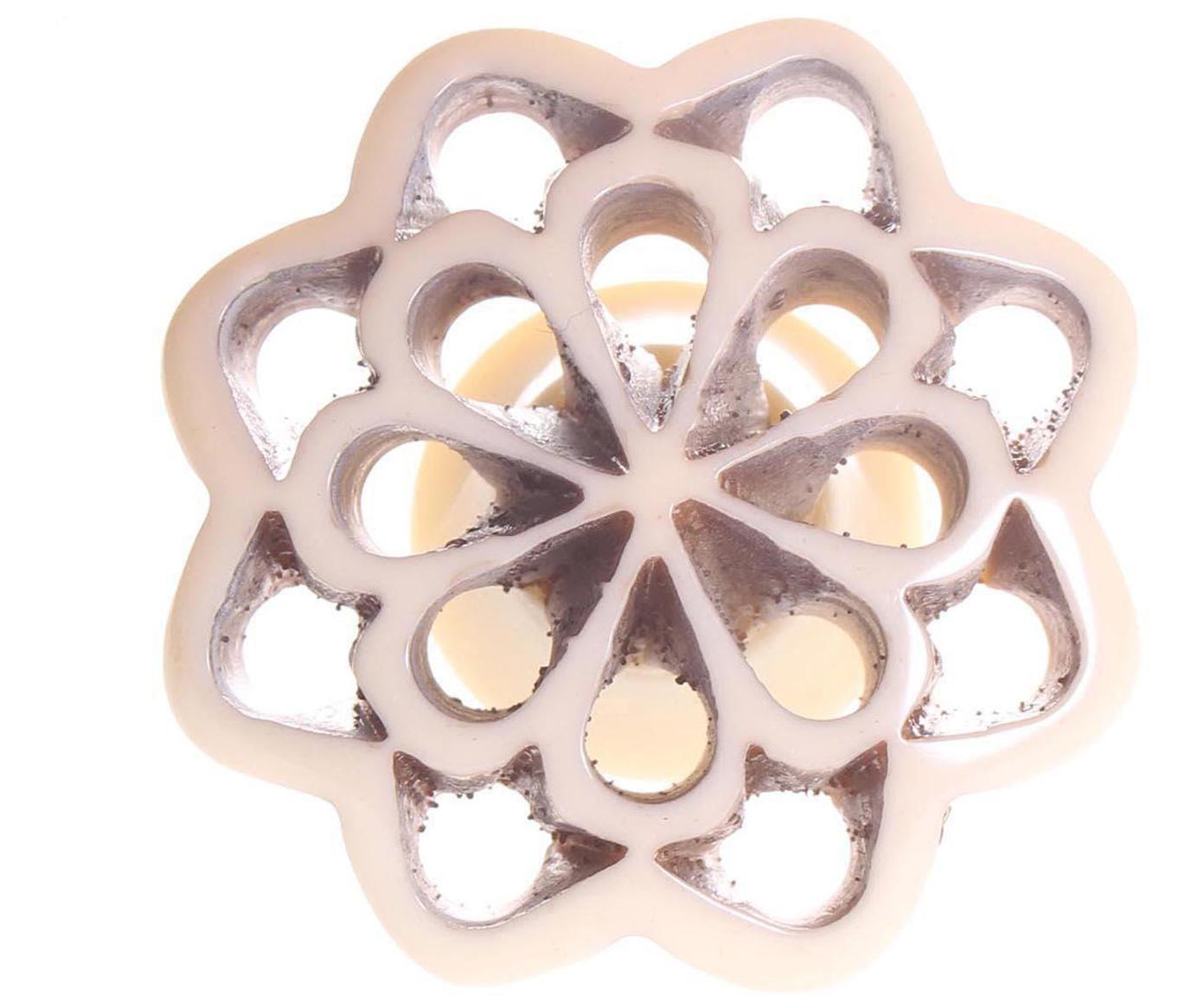 Tirador Flower, Cerámica, metal, Beige, Ø 4 cm