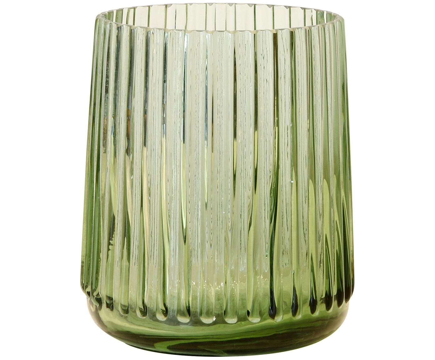 XS glazen vaas Ribbed in groen, Glas, Grasgroen, Ø 11 x H 9 cm
