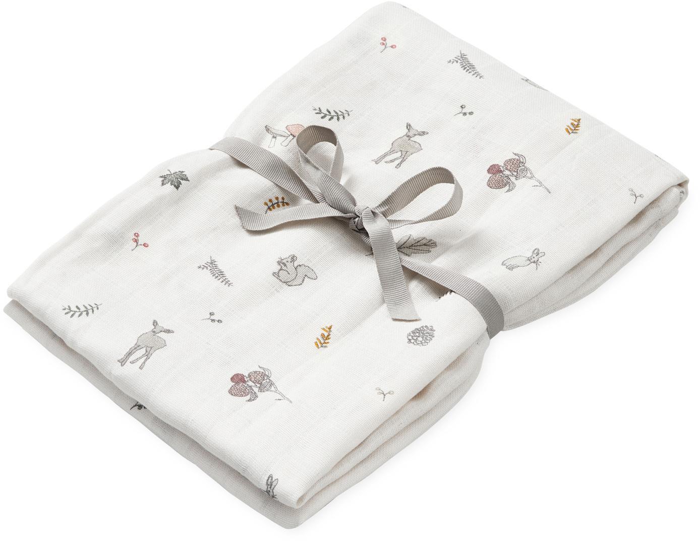 Manta bebé de algodón ecológico Fawn, Algodón orgánico, Blanco, marrón, beige, amarillo, rosa, verde, An 120 x L 120 cm