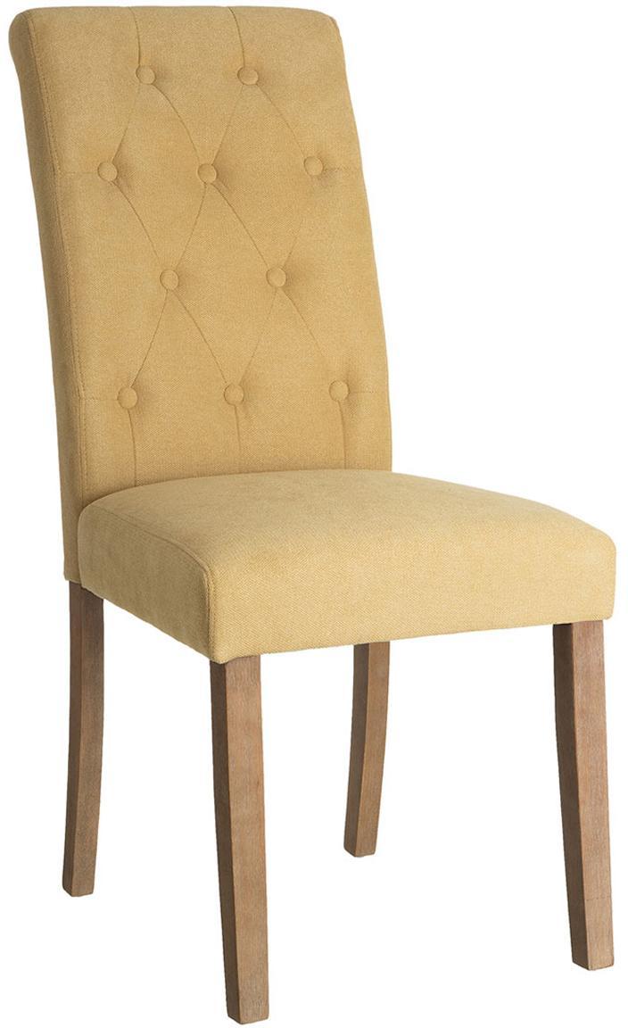 Silla tapizada Dudek, Tapizado: poliéster, Estructura: madera de caucho, Amarillo, An 47 x Al 101 cm